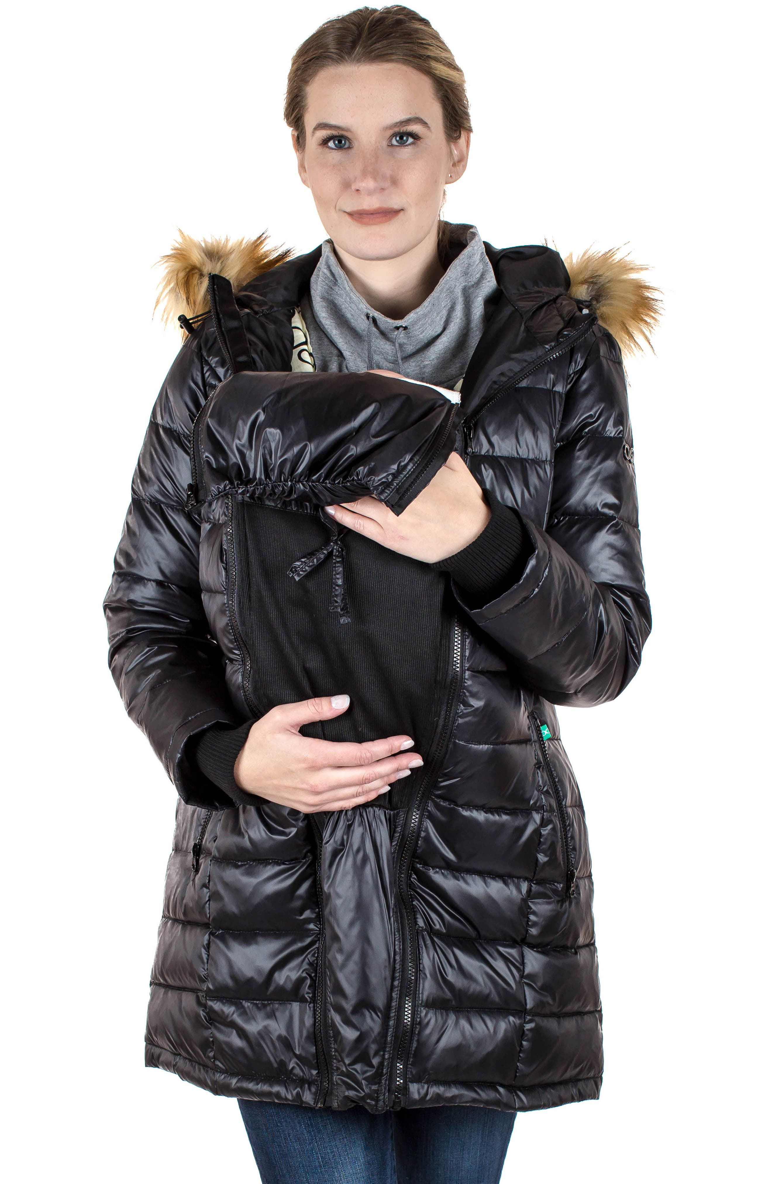 Quilted 3-in-1 Maternity/Nursing Parka,                             Alternate thumbnail 13, color,                             BLACK