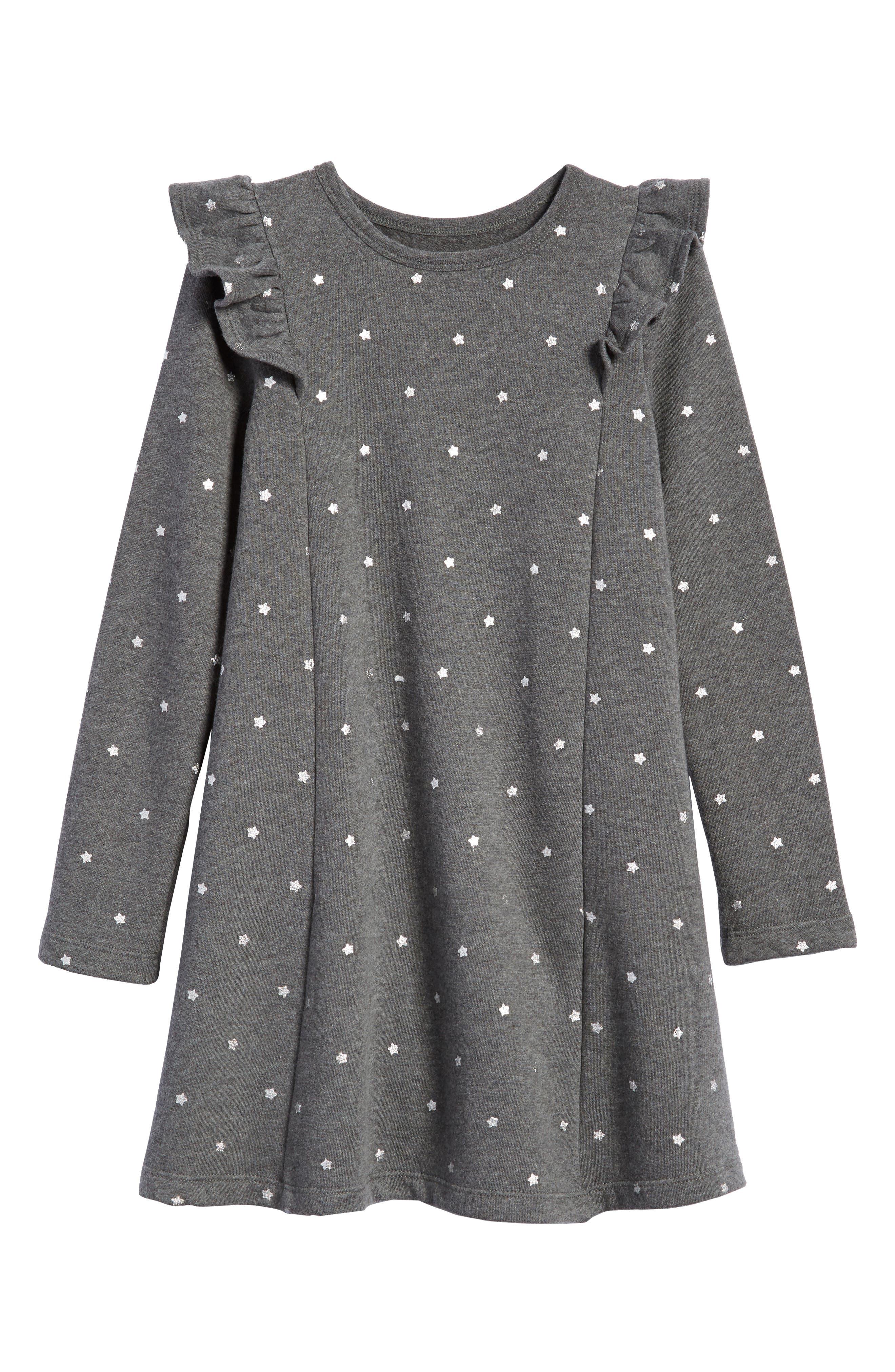 Ruffle Fleece Sweater Dress,                         Main,                         color, GREY CHARCOAL HEATHER STARS