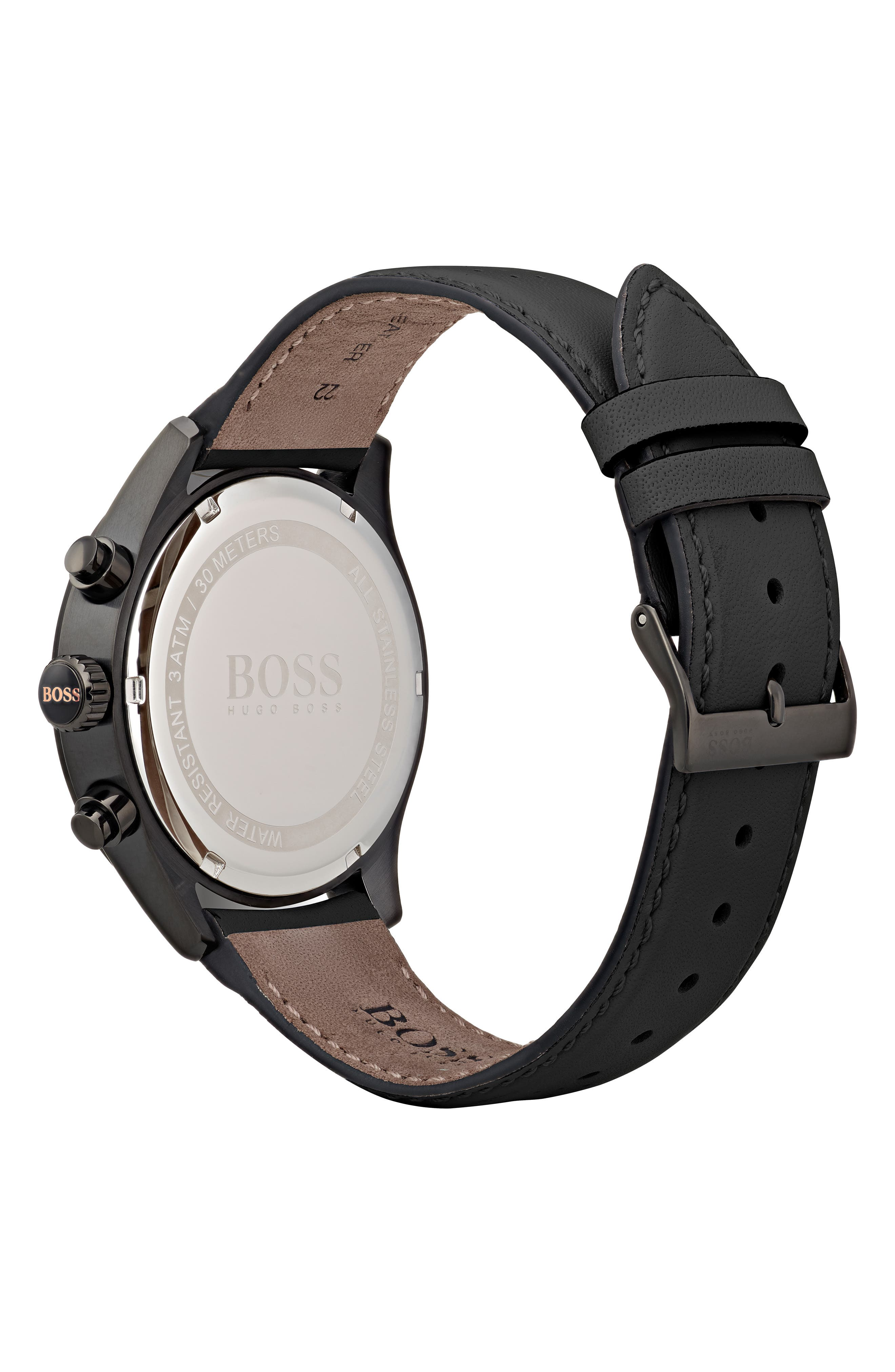 Grand Prix Leather Strap Chronograph Watch, 44mm,                             Alternate thumbnail 2, color,                             BLACK/ BLACK