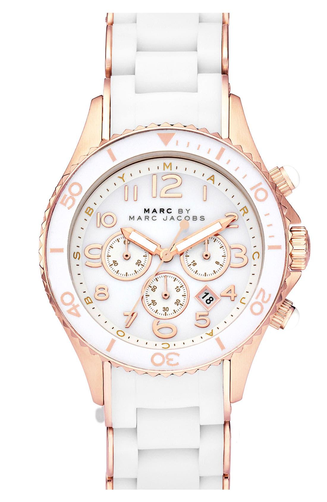 'Rock' Chronograph Silicone Bracelet Watch, 40mm,                             Main thumbnail 6, color,