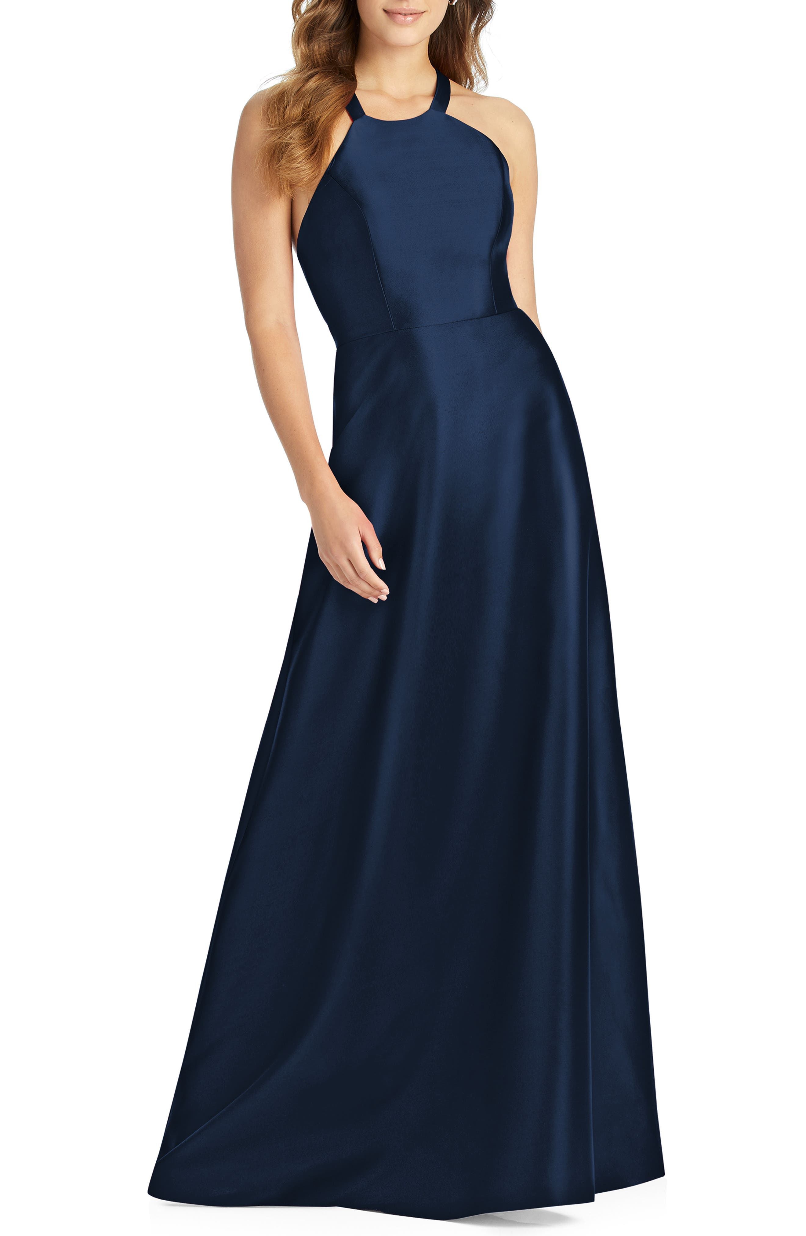 Alfred Sung Lace-Up Back Sateen Twill Gown, Blue
