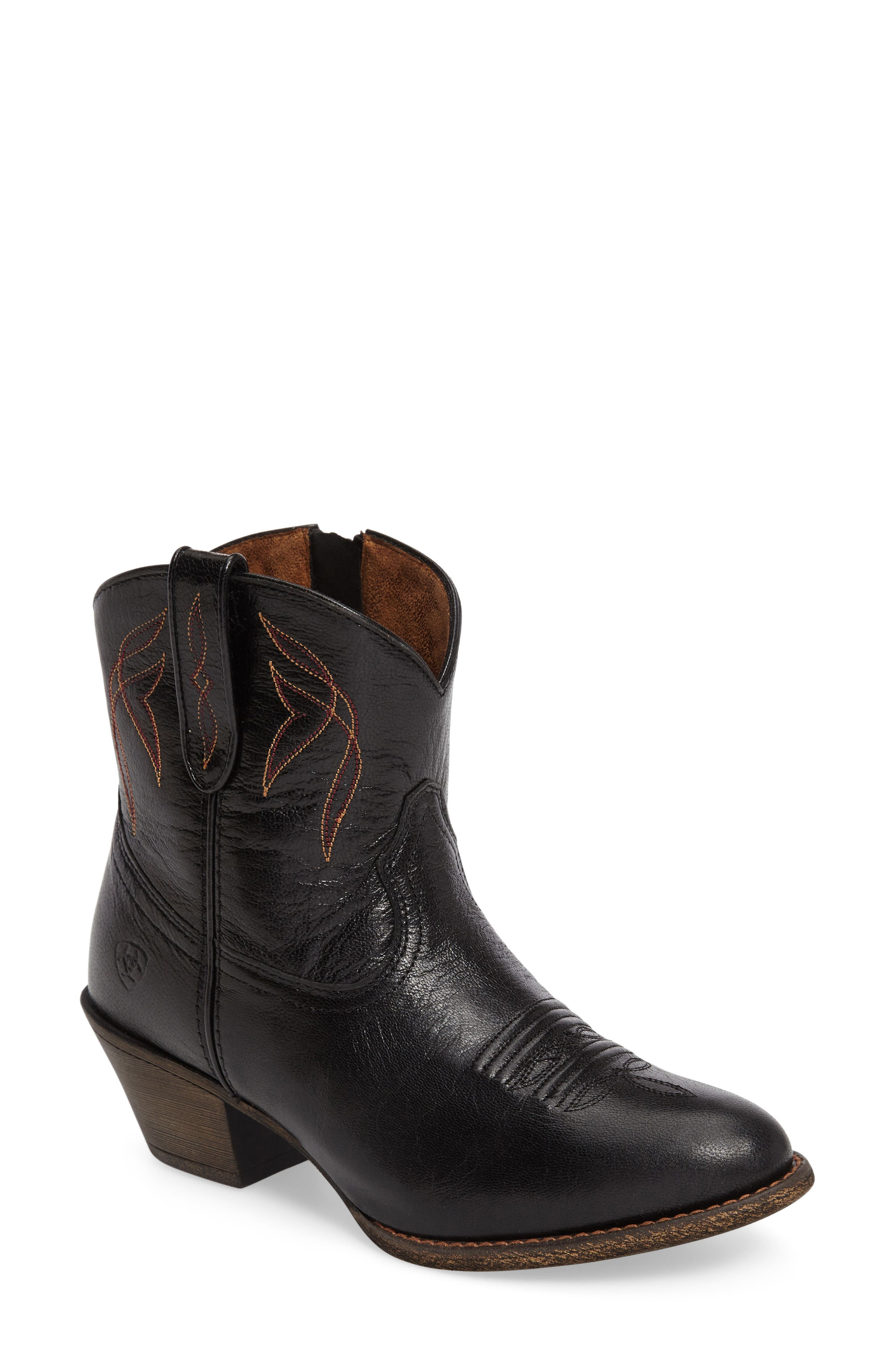 Darlin Short Western Boot,                             Main thumbnail 1, color,                             OLD BLACK LEATHER