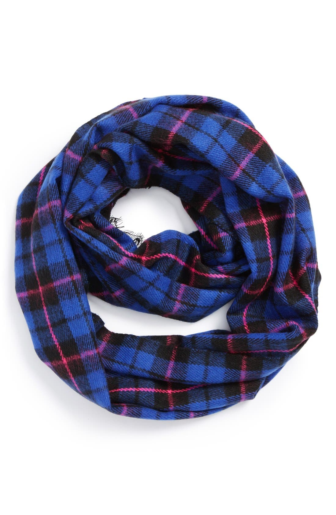 Plaid Lace Infinity Scarf, Main, color, 401