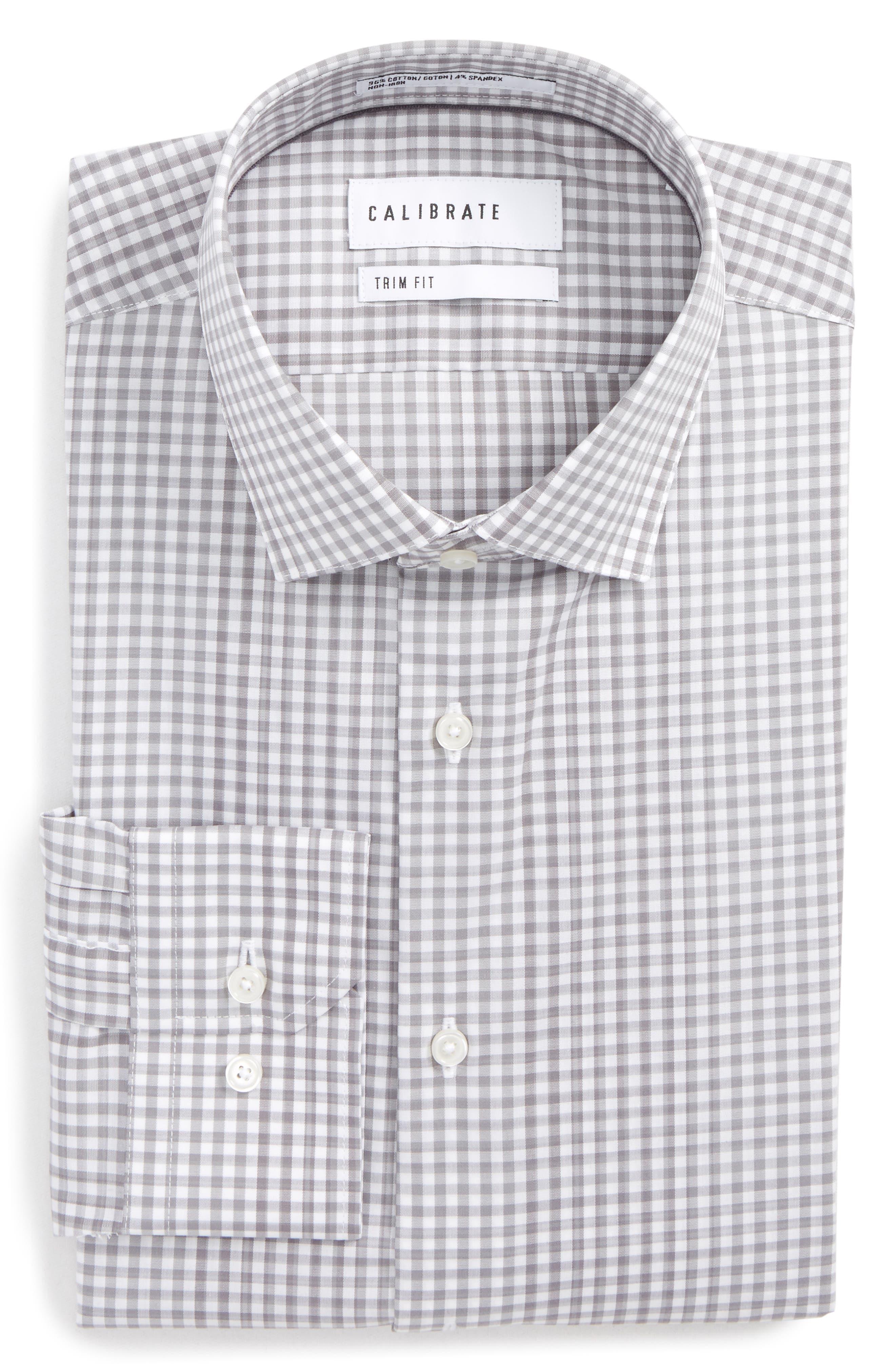 Trim Fit Stretch Non-Iron Check Dress Shirt,                         Main,                         color, 030