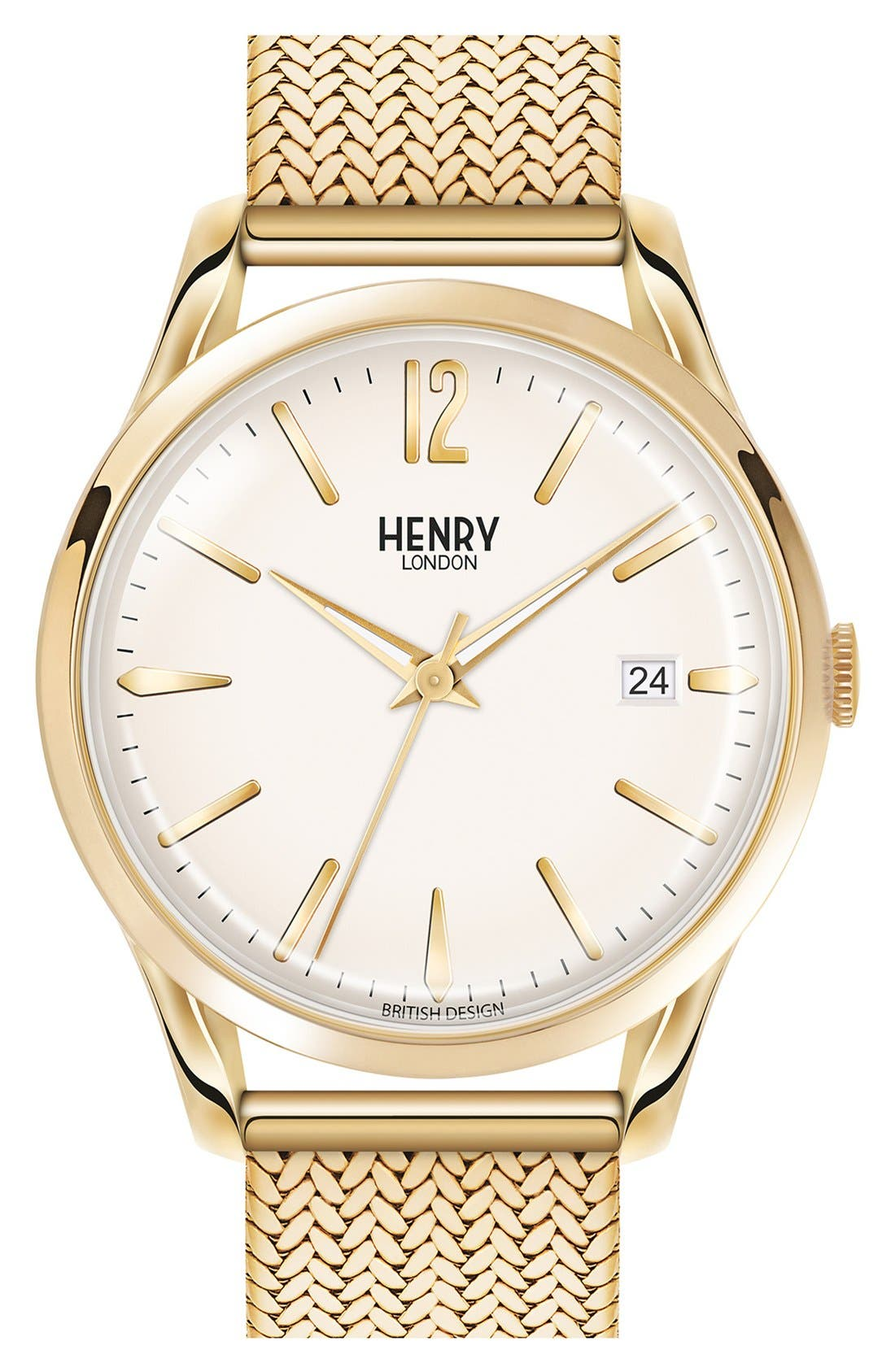'Westminster' Mesh Strap Watch, 38mm,                         Main,                         color, GOLD/ WHITE