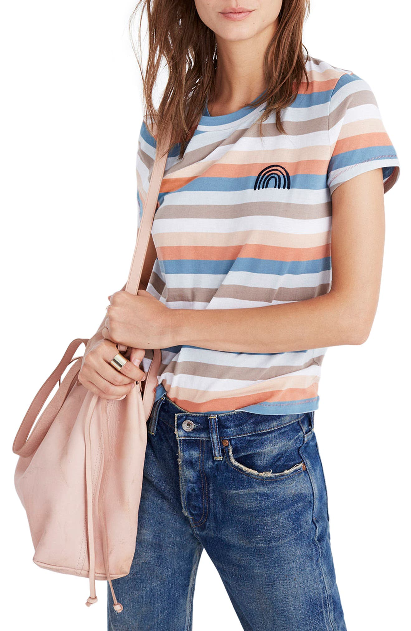 MADEWELL,                             Embroidered Rainbow Stripe Tee,                             Main thumbnail 1, color,                             650