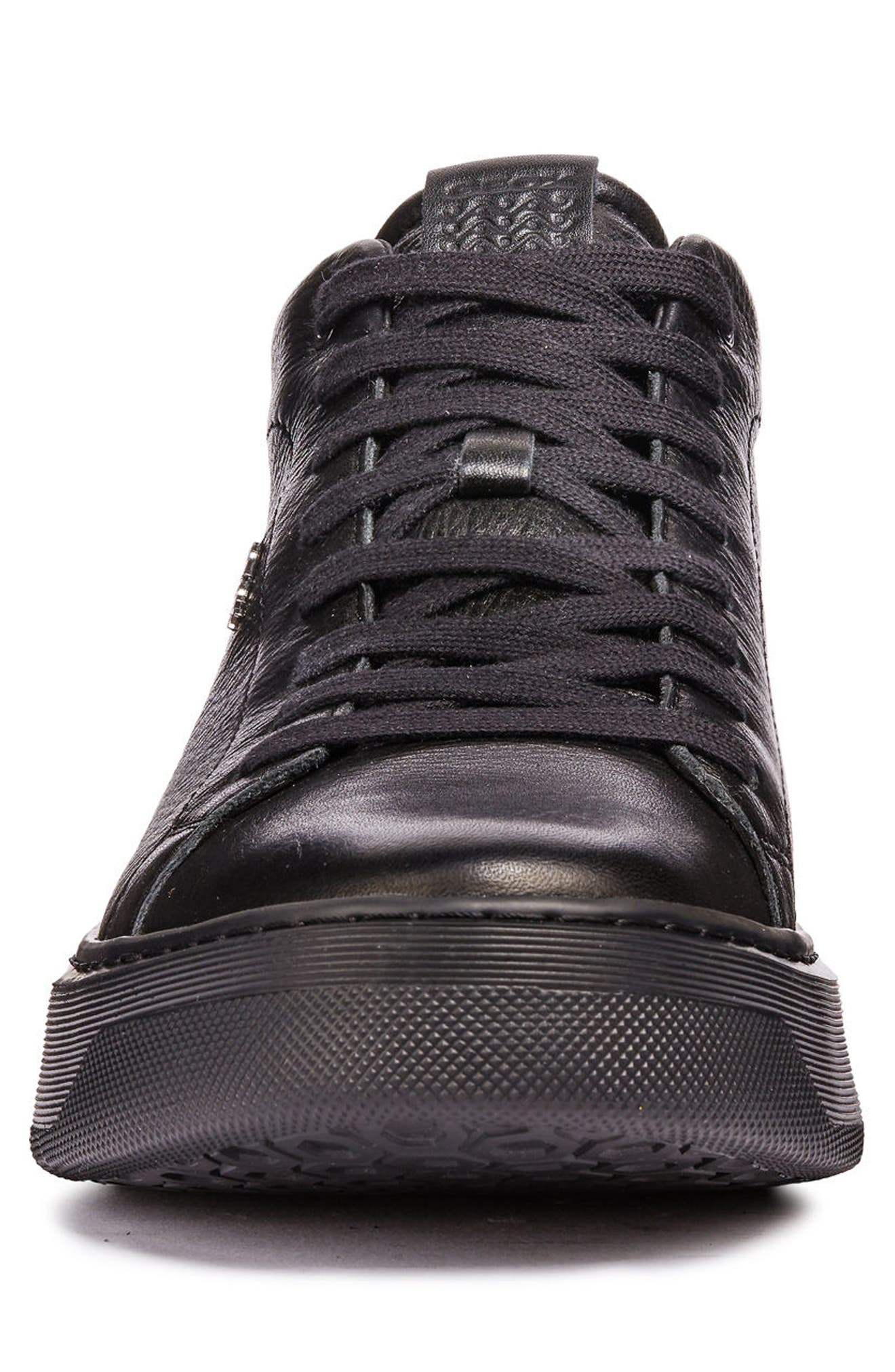 Deiven 1 High Top Sneaker,                             Alternate thumbnail 4, color,                             BLACK LEATHER