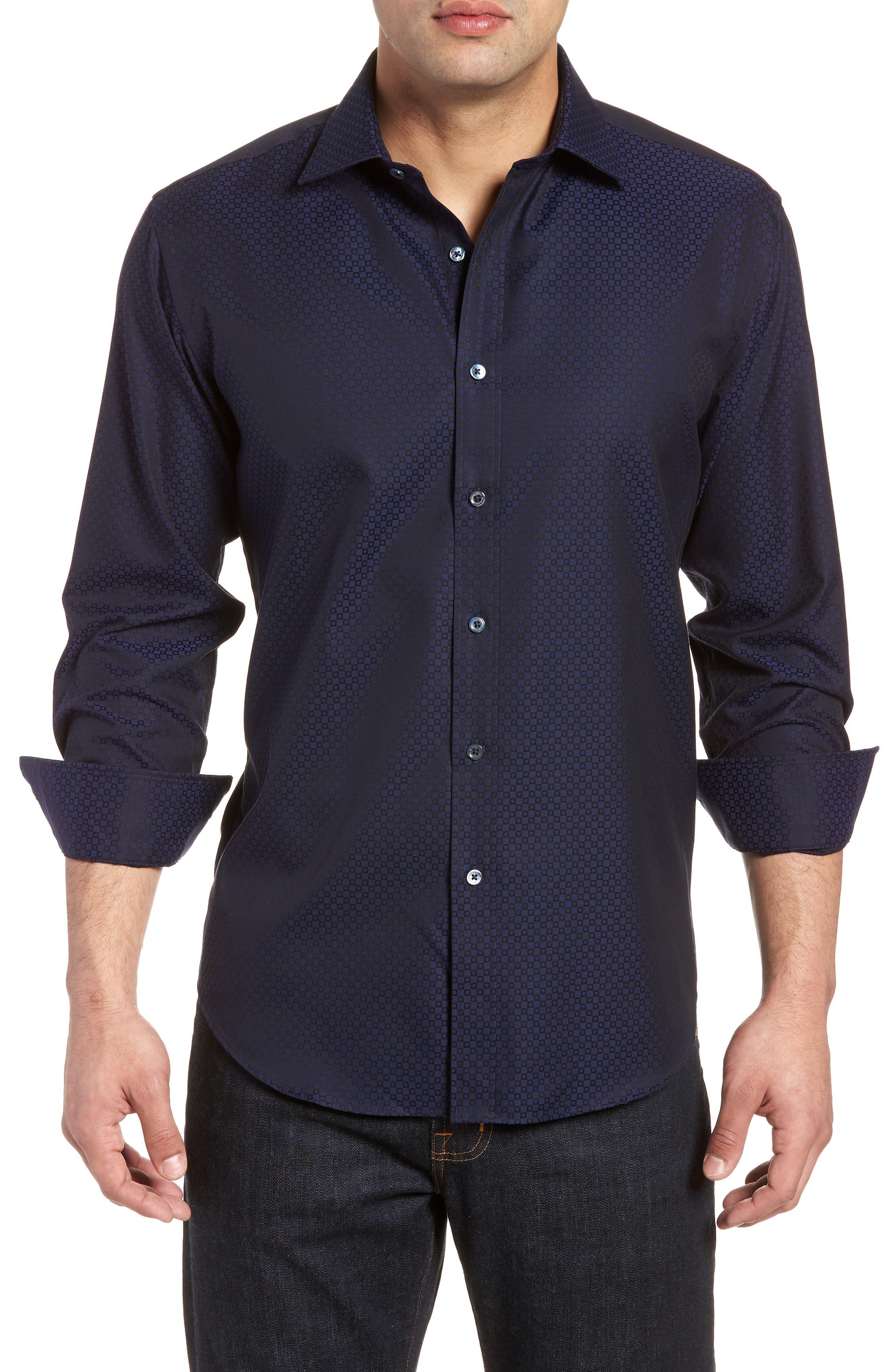 Woven Sport Shirt,                         Main,                         color, MIDNIGHT