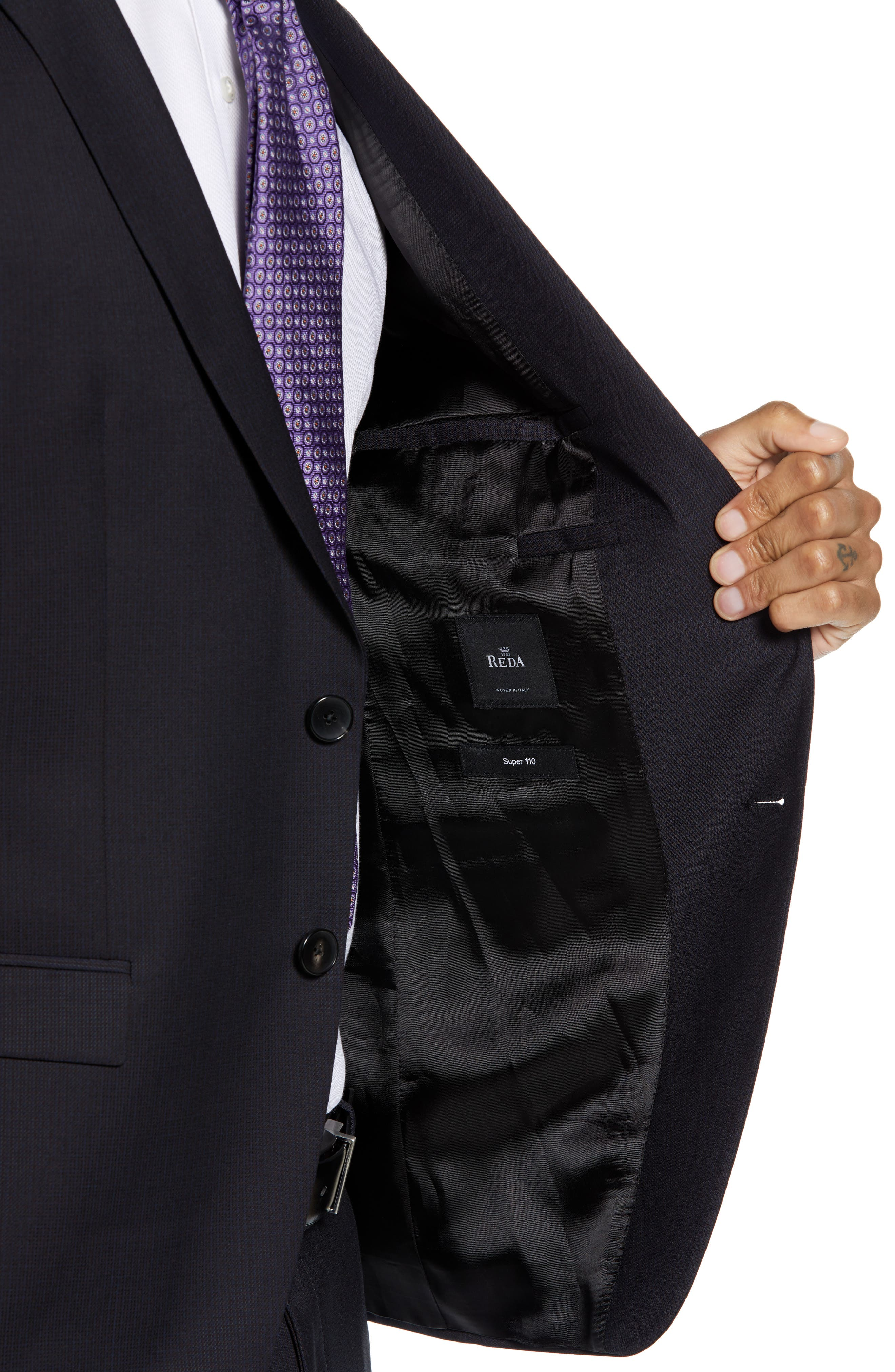 Reymond/Wenten Extra Trim Fit Solid Wool Suit,                             Alternate thumbnail 4, color,                             DARK PURPLE