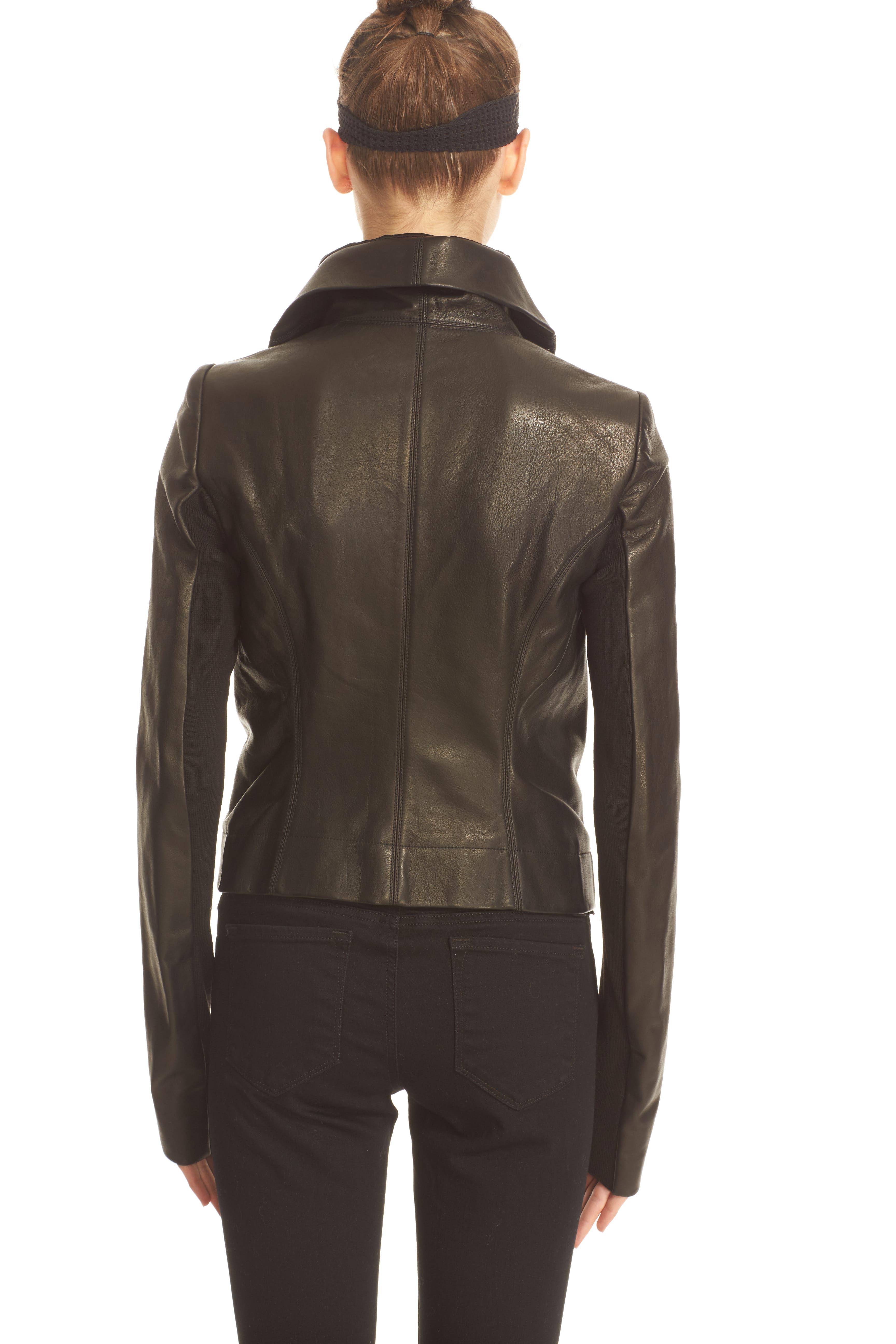 RICK OWENS,                             'Clean' Leather Biker Jacket,                             Alternate thumbnail 3, color,                             001