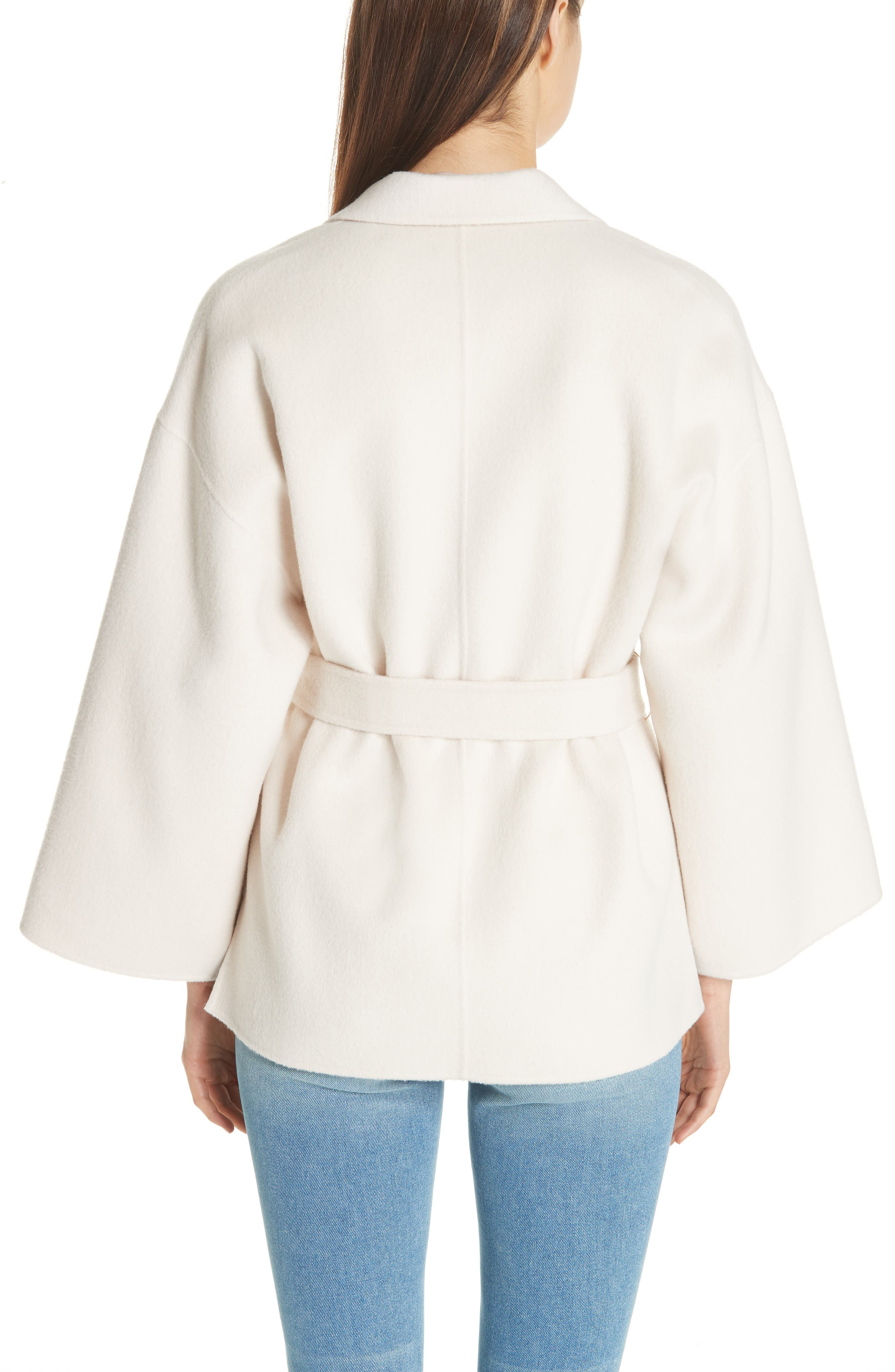 Wool & Cashmere Belted Jacket,                             Alternate thumbnail 2, color,                             BUTTERCREAM