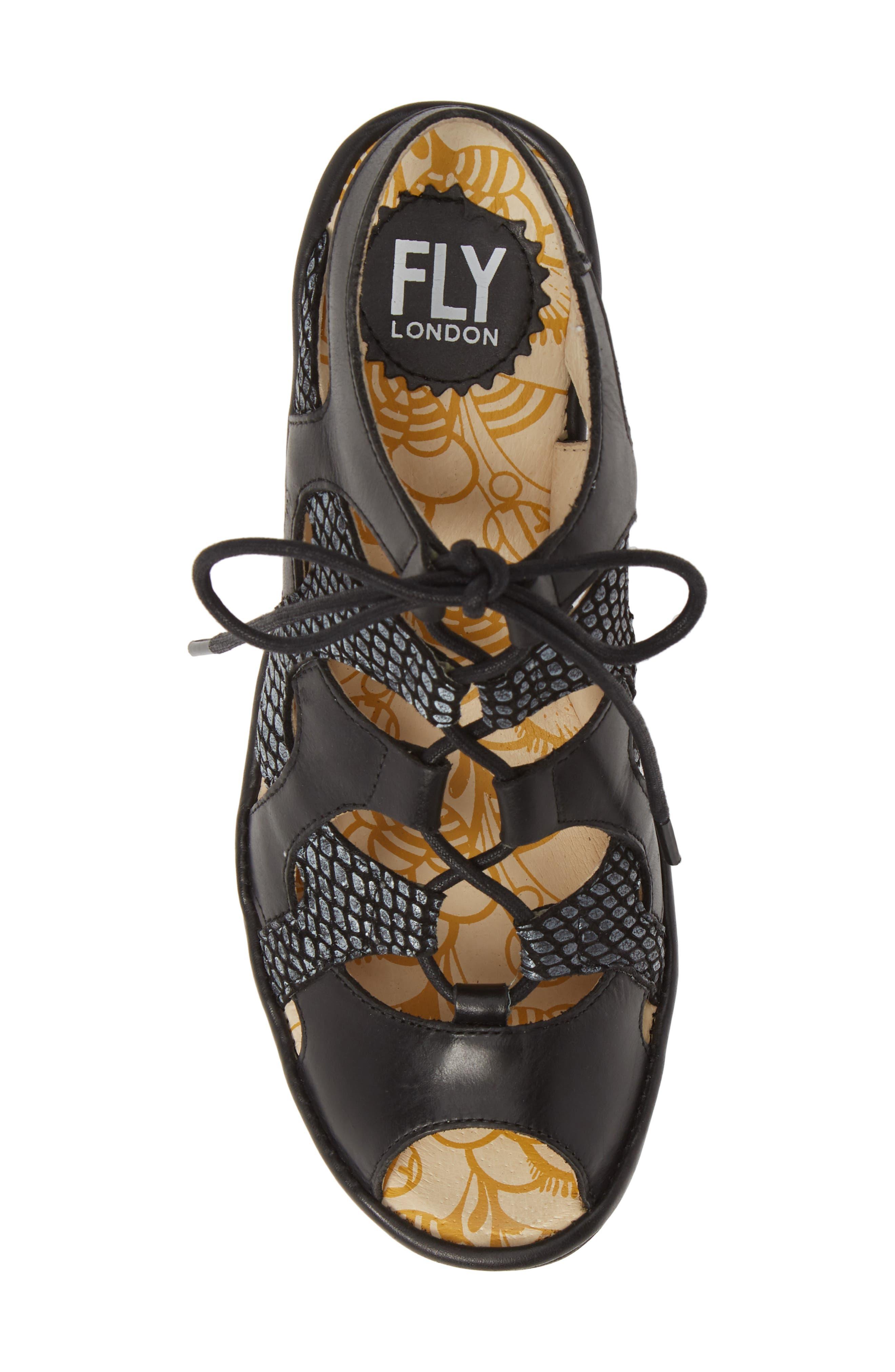 FLY LONDON,                             Yexa Sandal,                             Alternate thumbnail 5, color,                             BLACK LEATHER