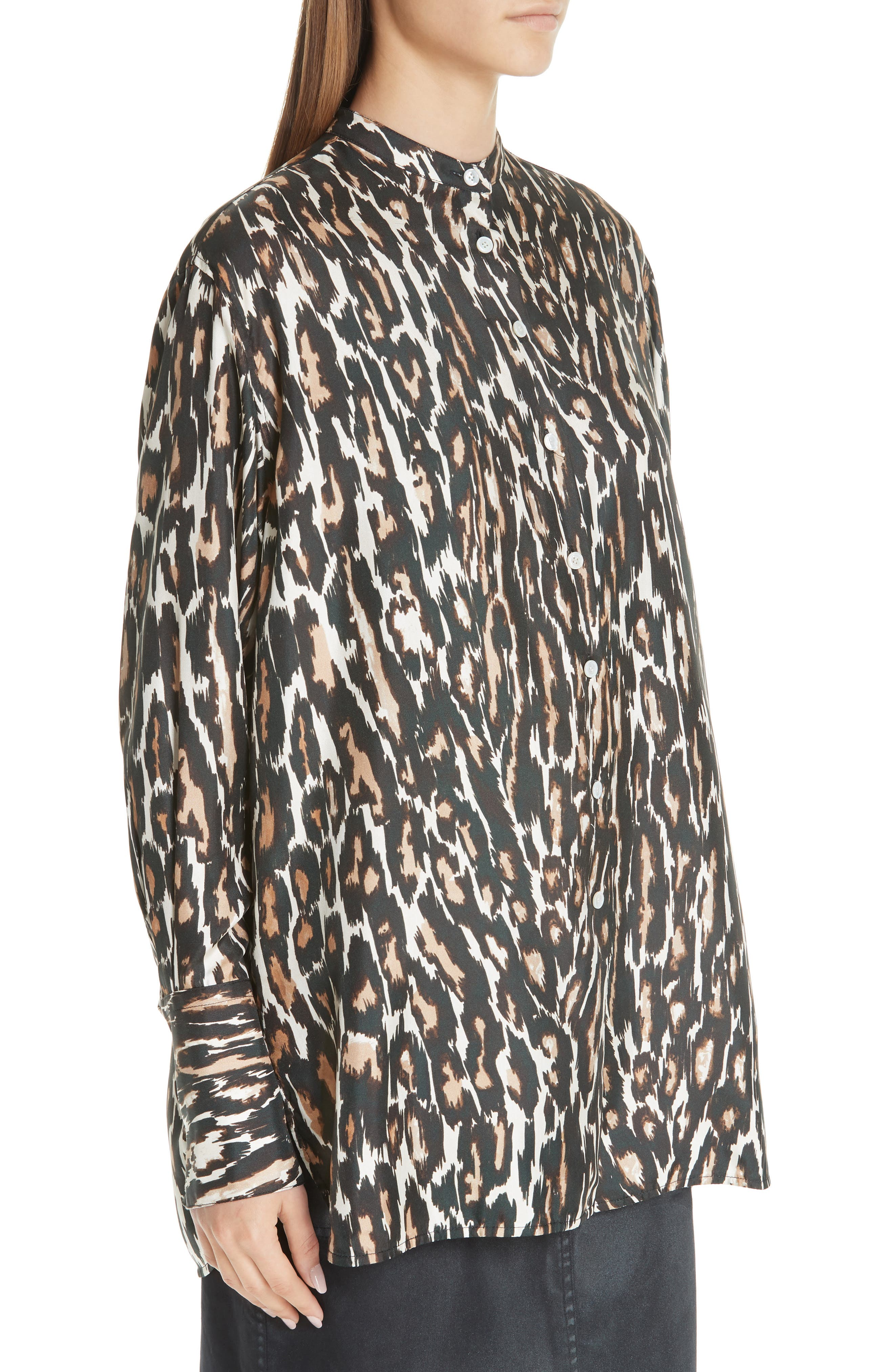 Leopard Print Silk Twill Blouse,                             Alternate thumbnail 4, color,                             IVORY BROWN BLACK BEIGE