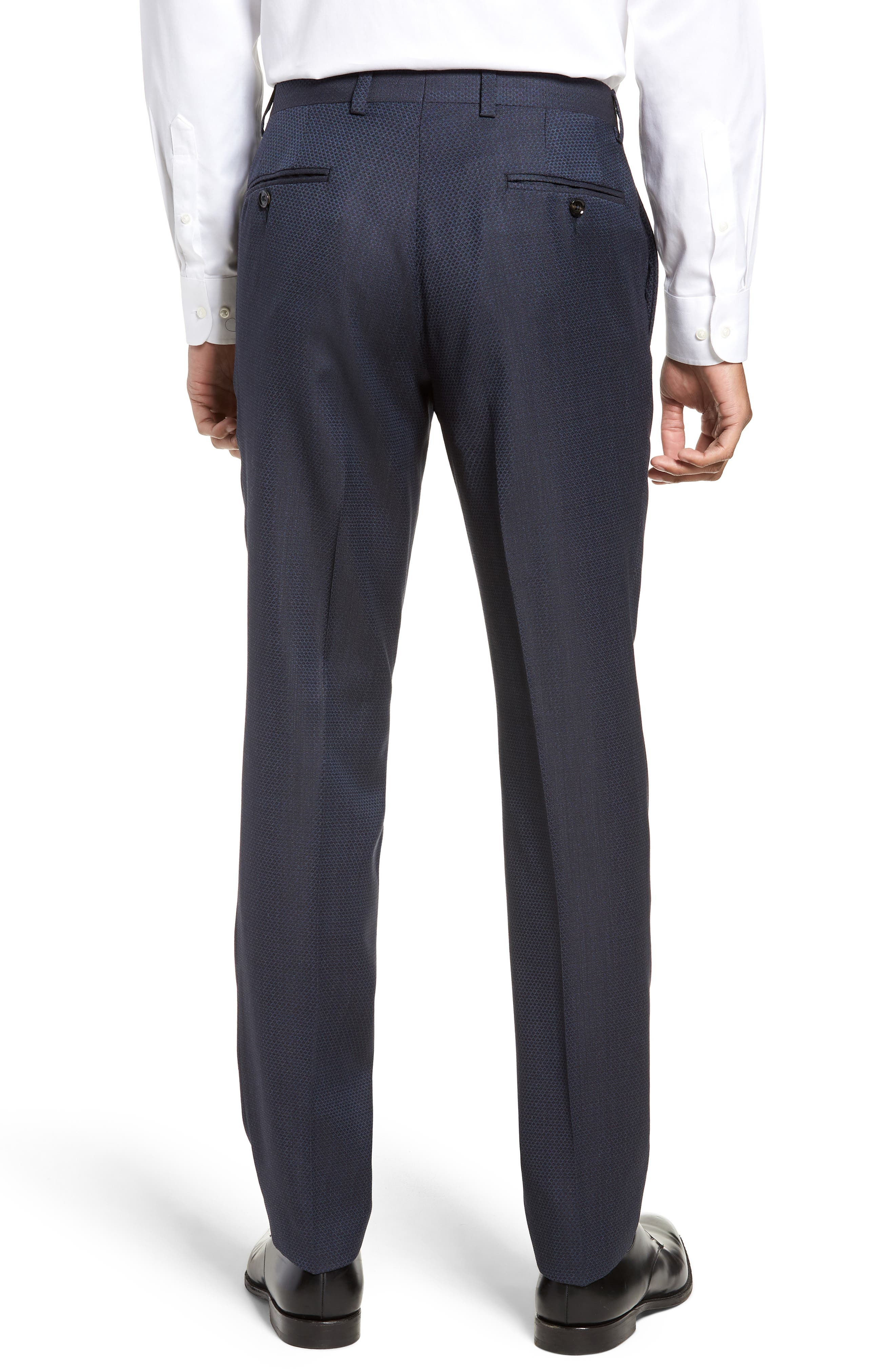 Jefferson Flat Front Solid Wool Trousers,                             Alternate thumbnail 2, color,                             400
