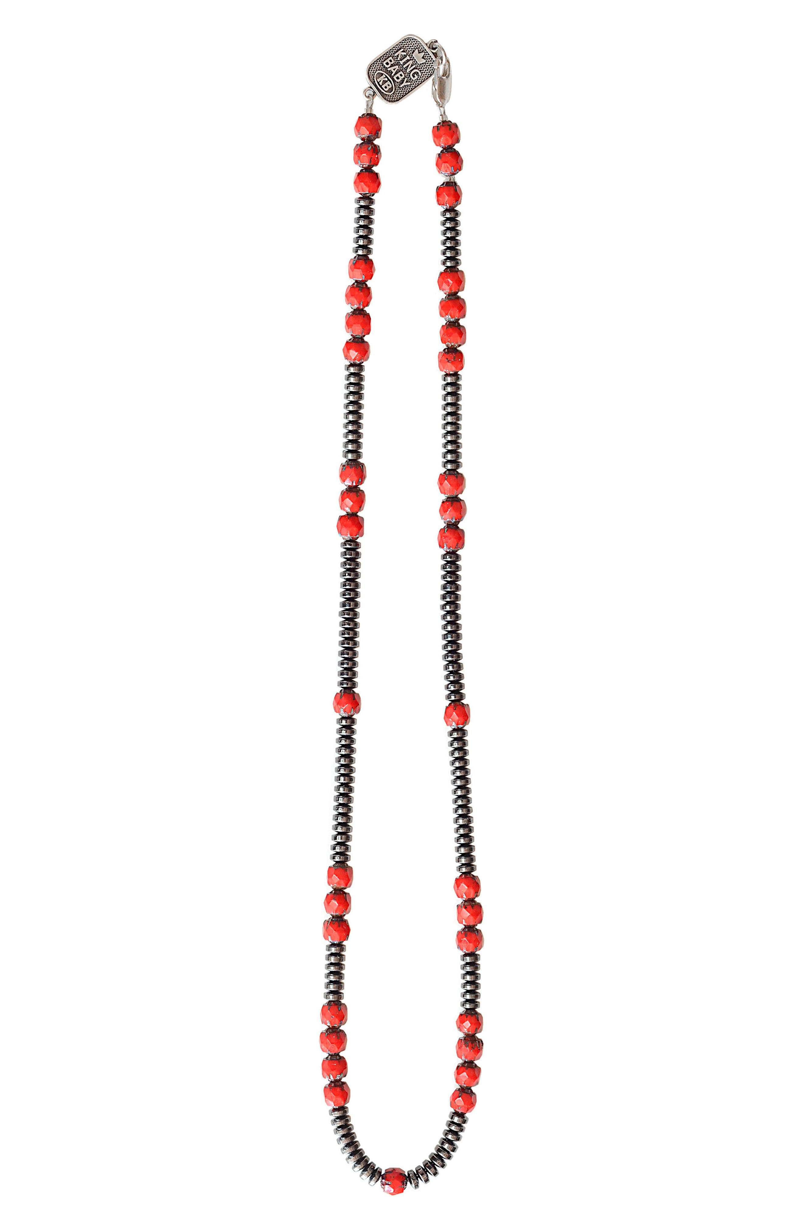 American Voices Hematite Glass Bead Necklace,                         Main,                         color, RED