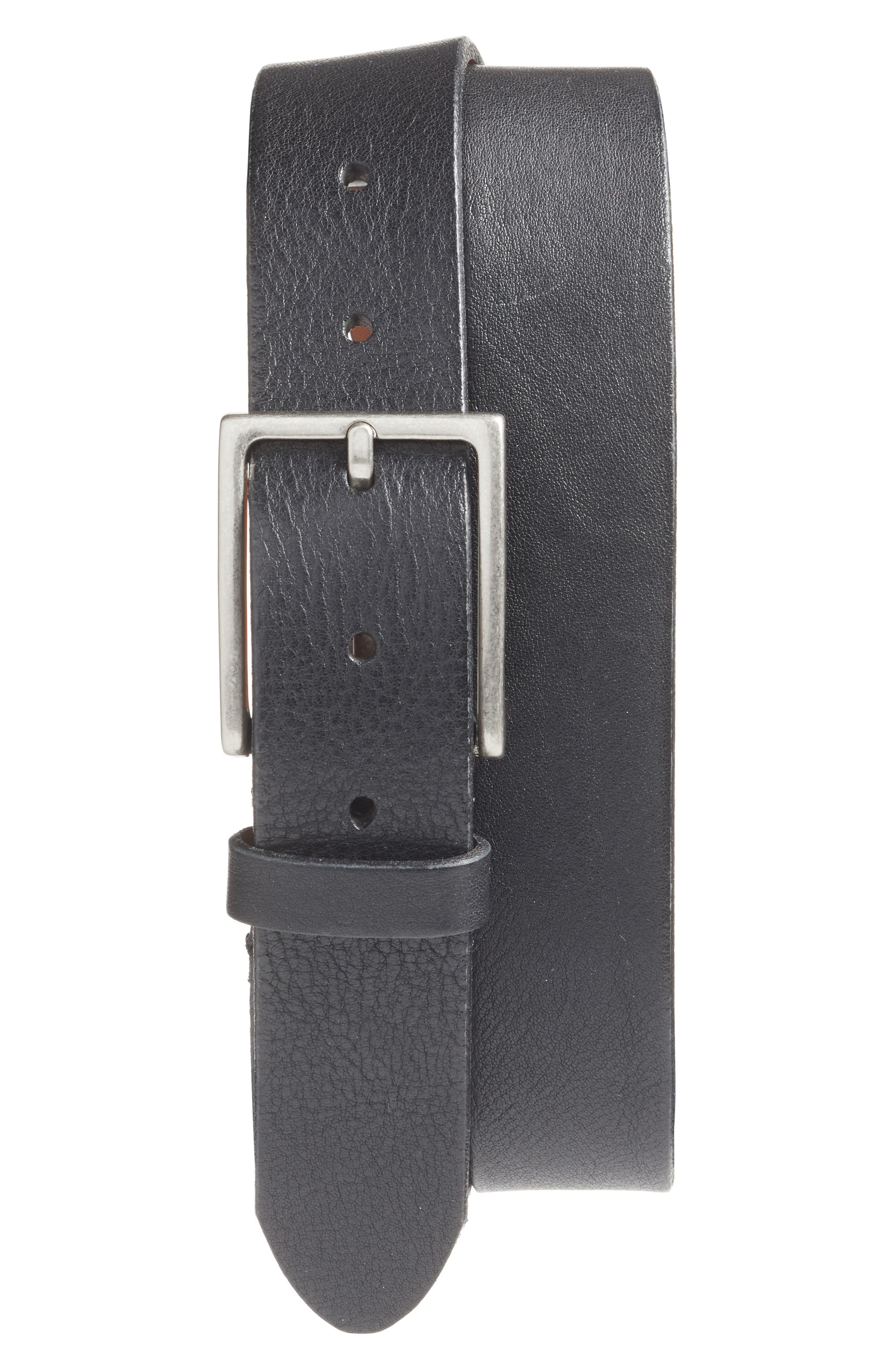 The Sicuro Leather Belt, Main, color, BLACK