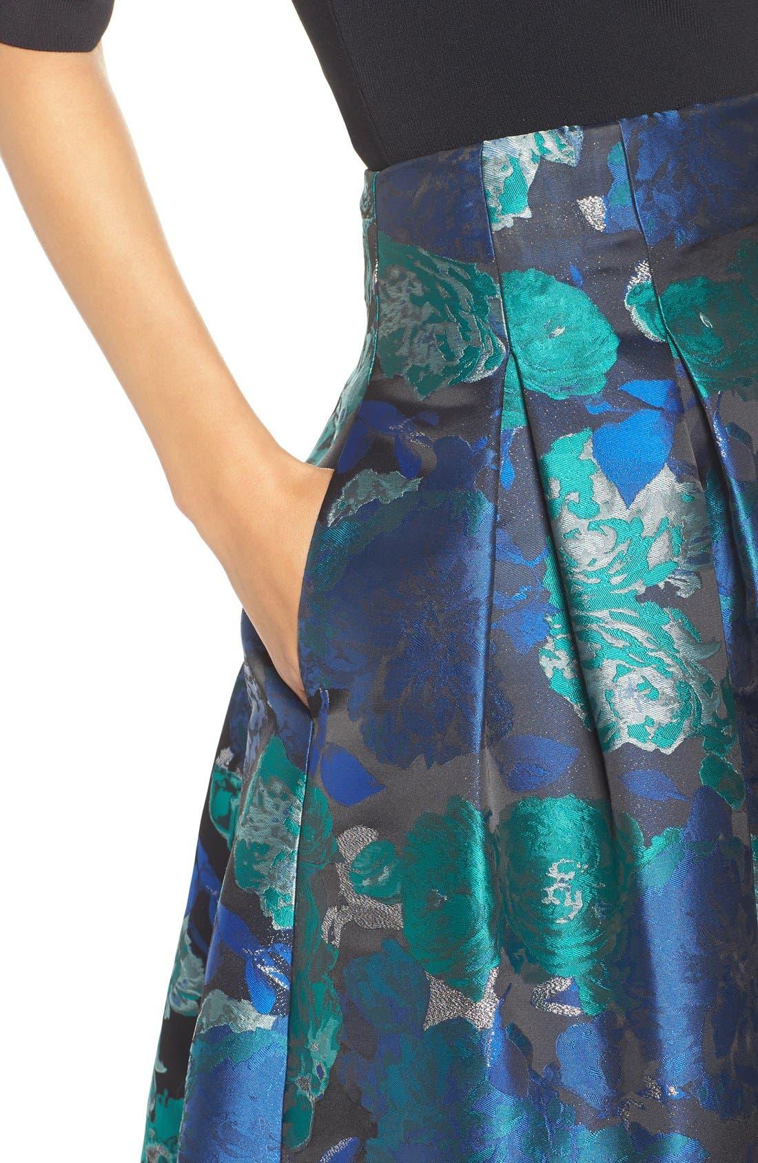Floral Jacquard Ball Skirt,                             Alternate thumbnail 6, color,                             442