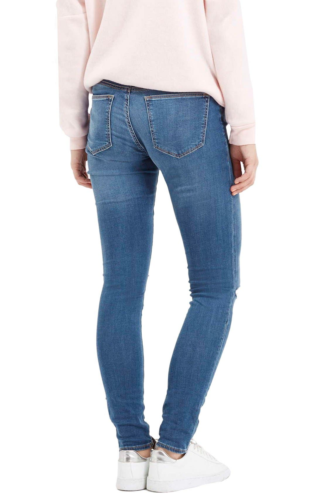 Moto 'Leigh' Ripped Skinny Jeans,                             Alternate thumbnail 3, color,                             400