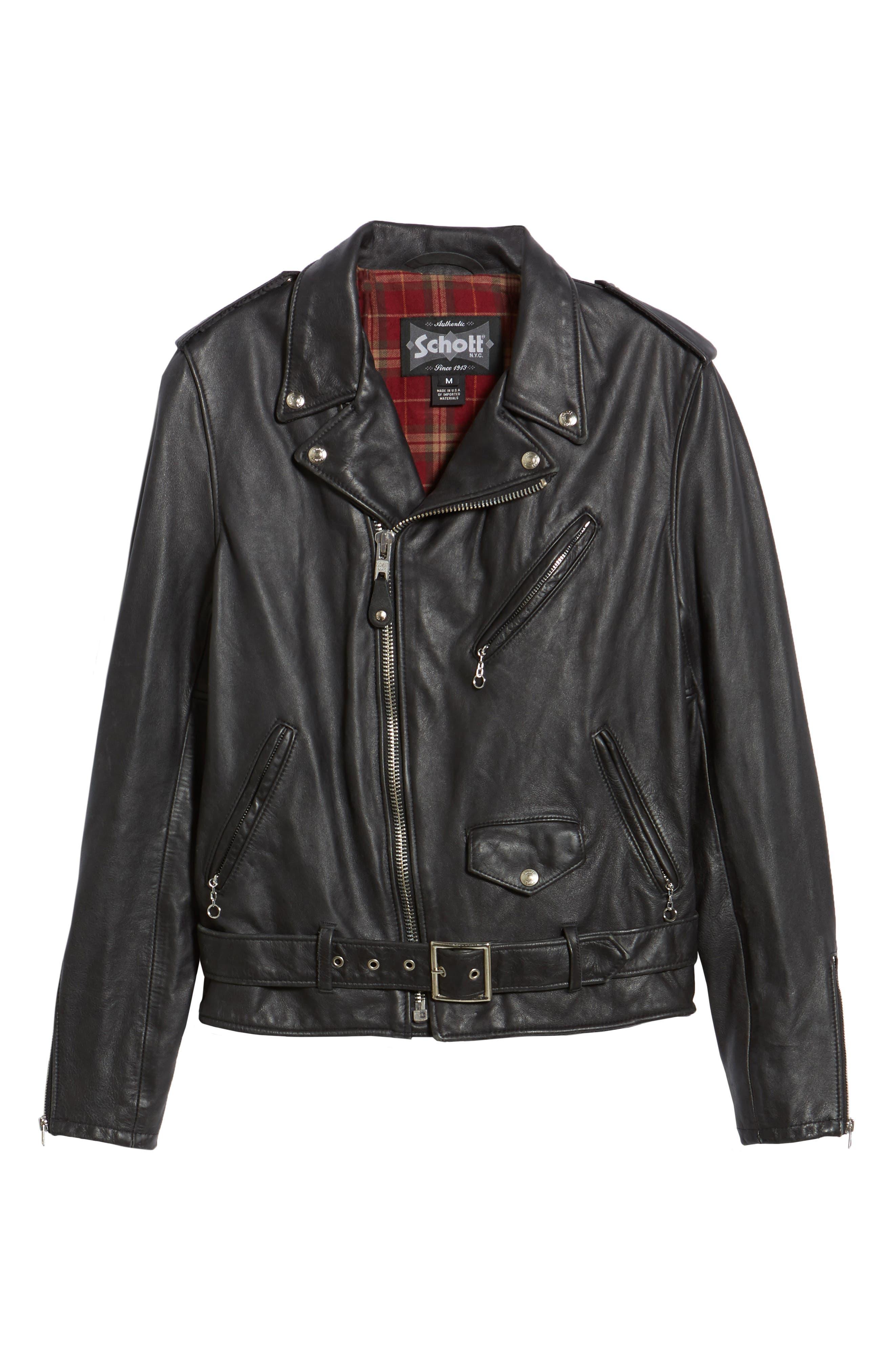Hand Vintaged Cowhide Leather Motocycle Jacket,                             Alternate thumbnail 5, color,                             BLACK