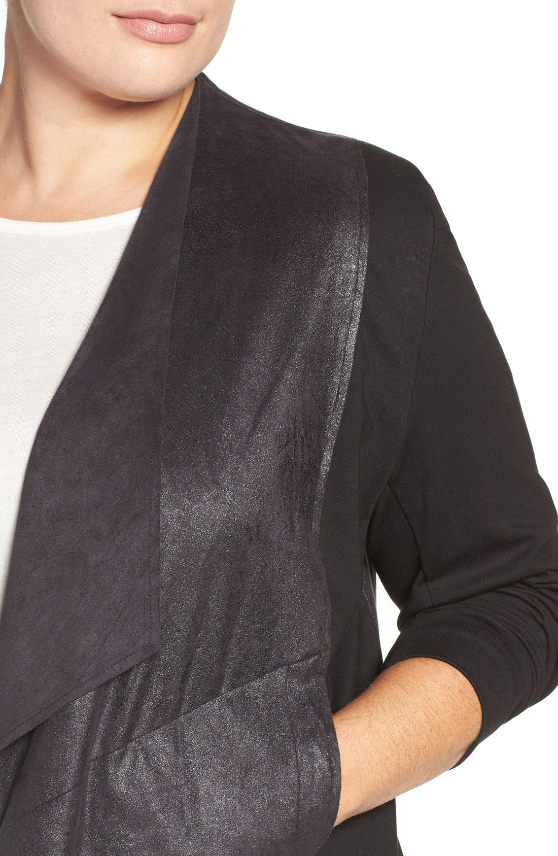 'Shanan' Faux Leather & Knit Drape Front Jacket,                             Alternate thumbnail 4, color,                             001
