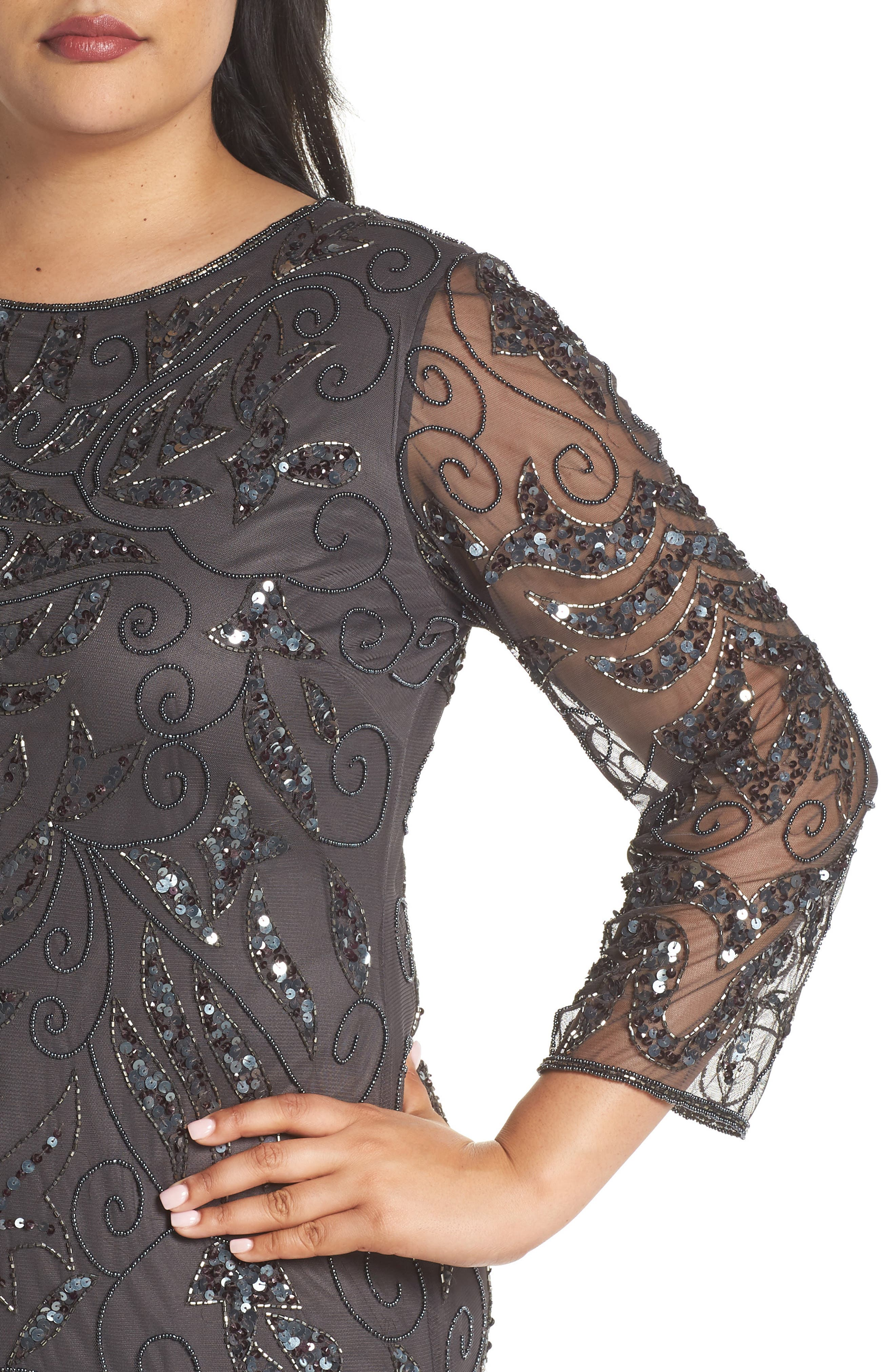 Embellished Three Quarter Sleeve Gown,                             Alternate thumbnail 4, color,                             NEW ASH