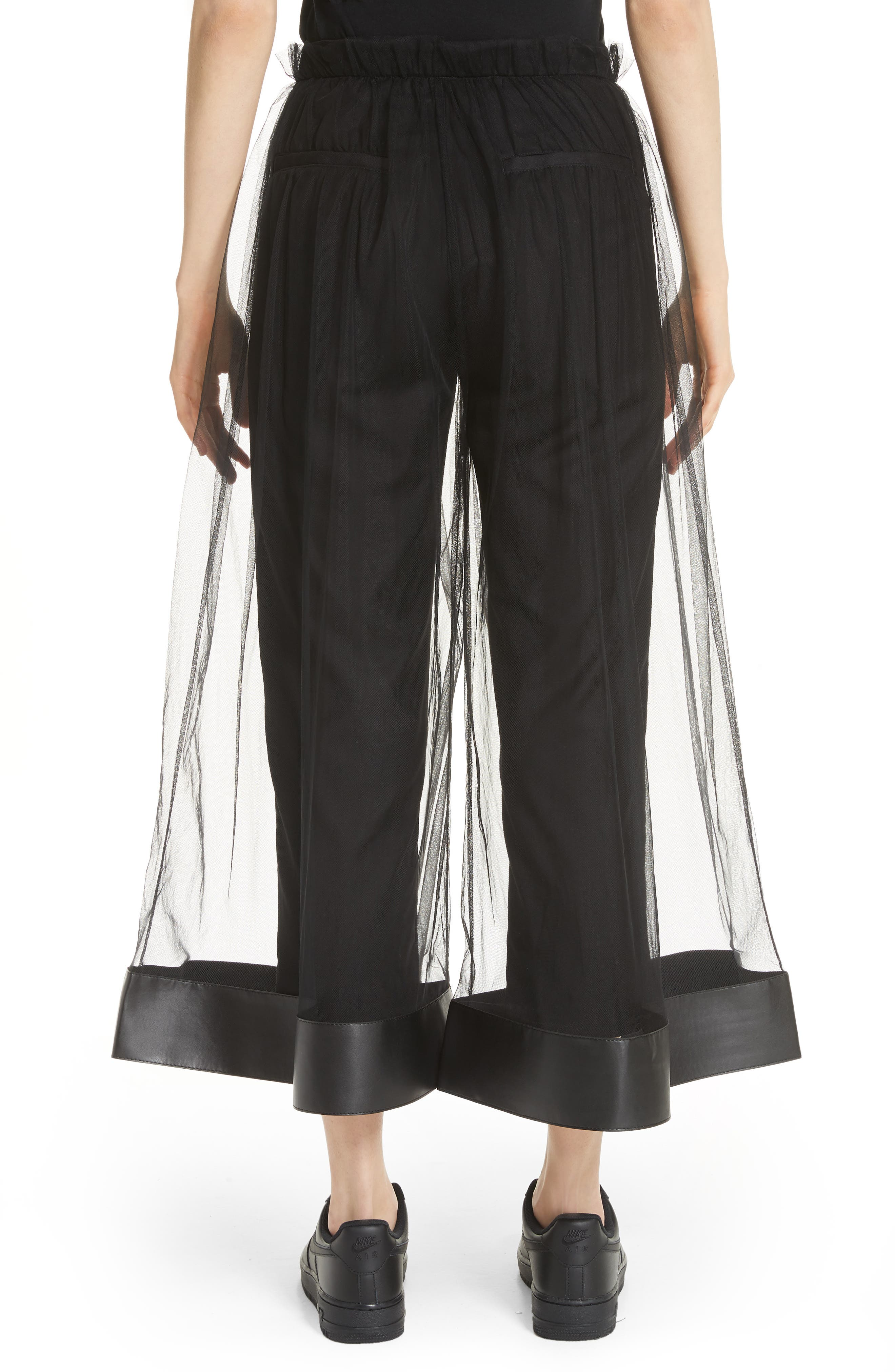 Tulle Overlay Crop Pants,                             Alternate thumbnail 2, color,                             001
