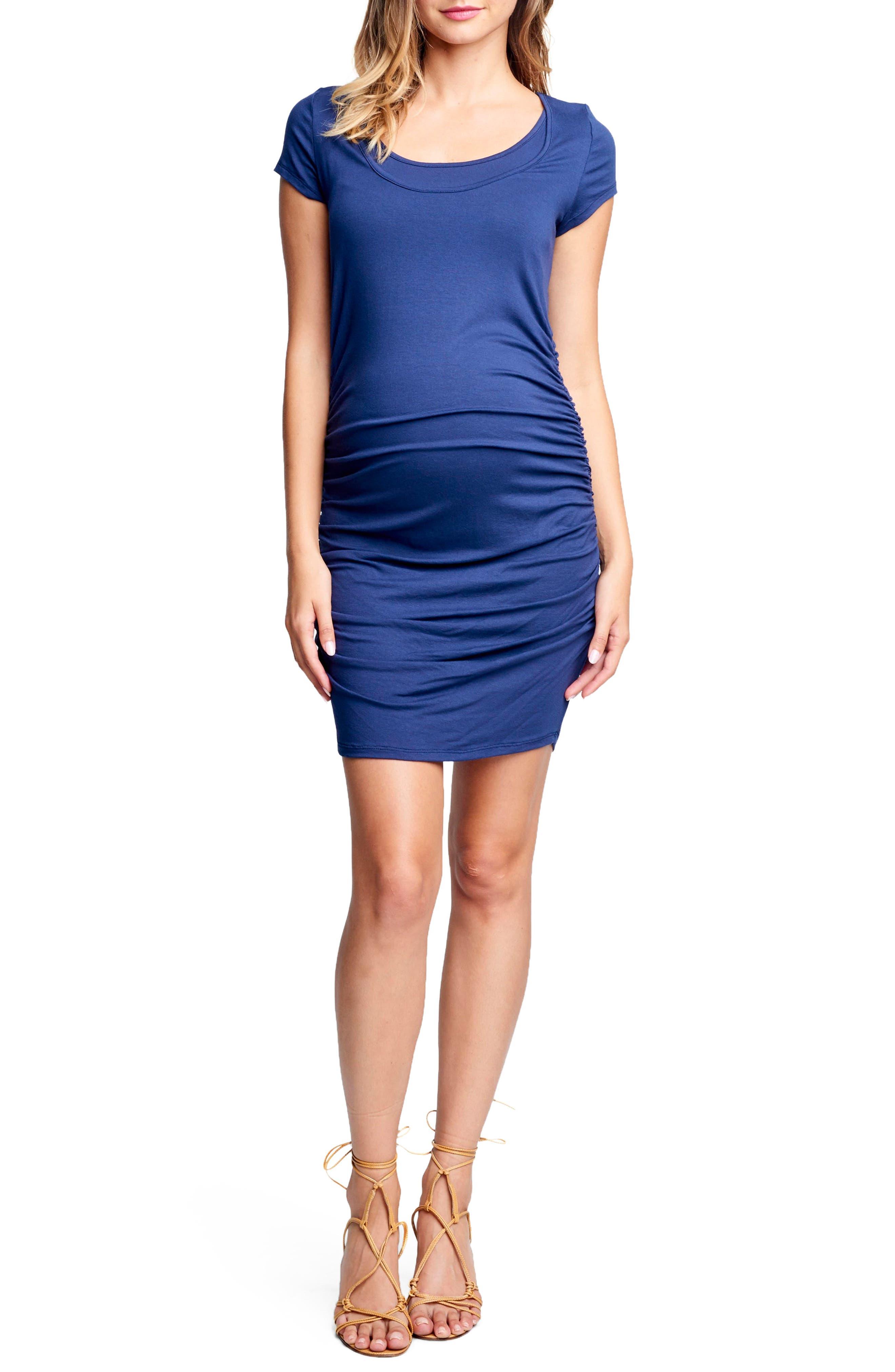 Maternal America Short Sleeve Ruched Maternity/nursing Dress, Blue