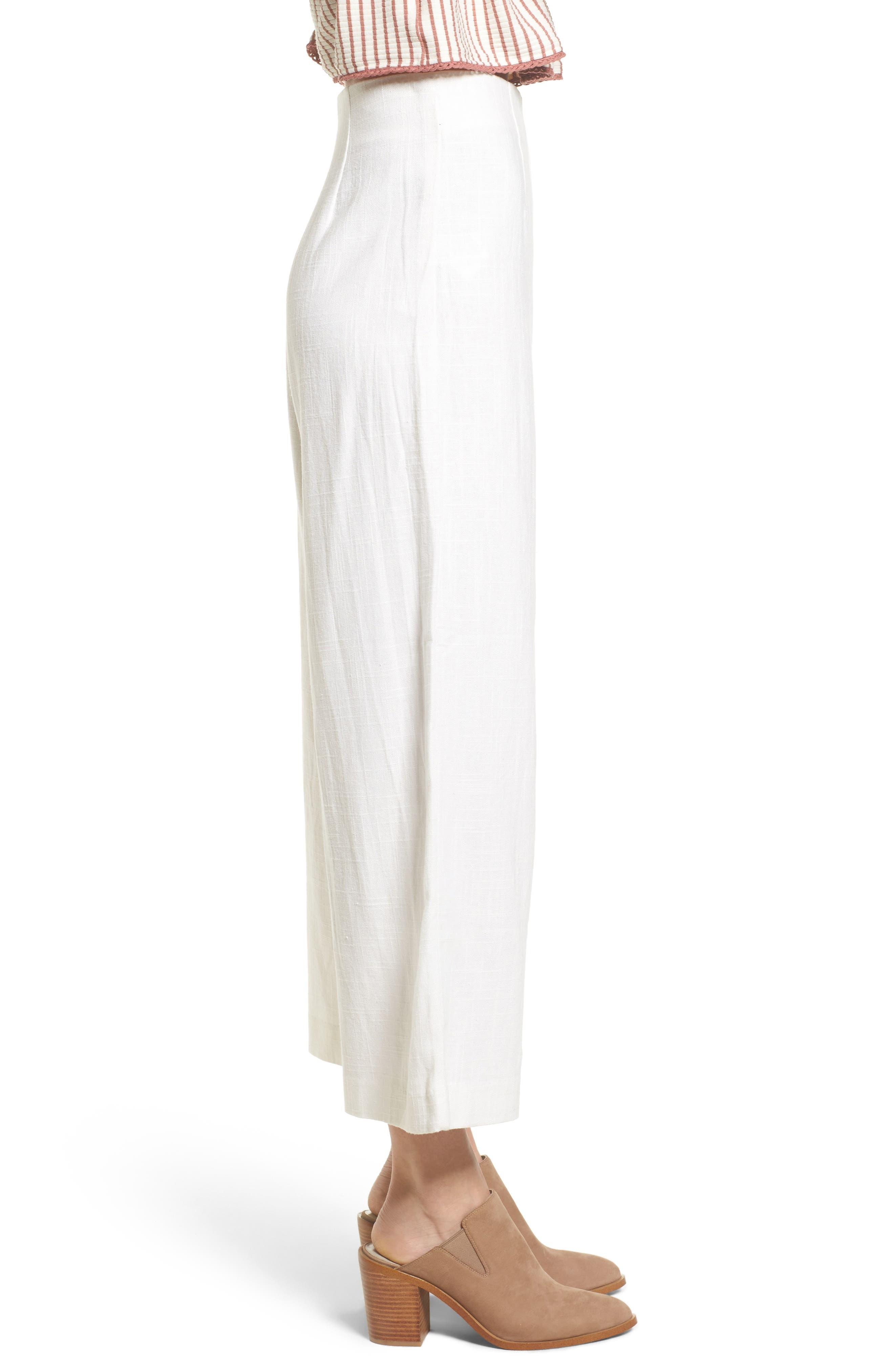 Linen High Waist Crop Pants,                             Alternate thumbnail 3, color,