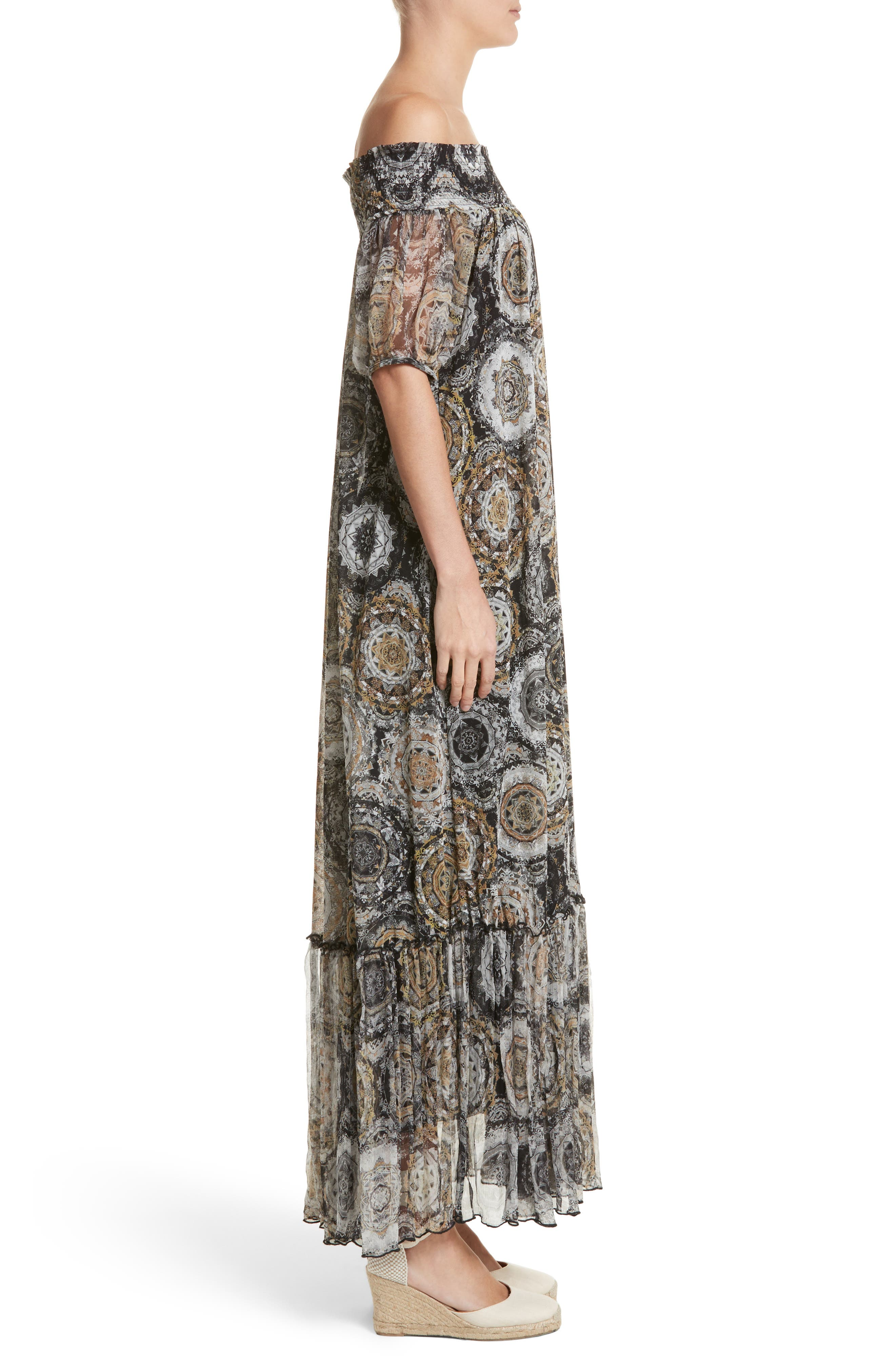 Print Tulle Off the Shoulder Maxi Dress,                             Alternate thumbnail 3, color,                             001