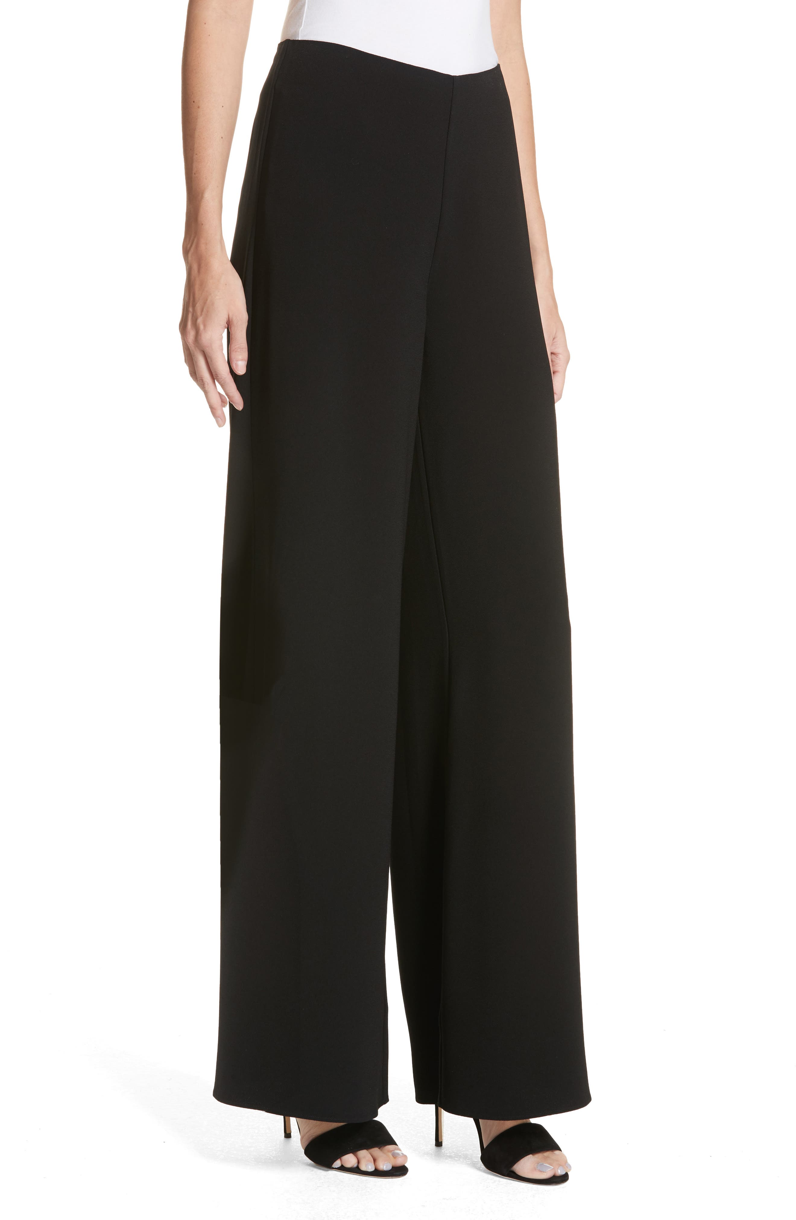Wide Leg Pants,                             Alternate thumbnail 4, color,                             BLACK