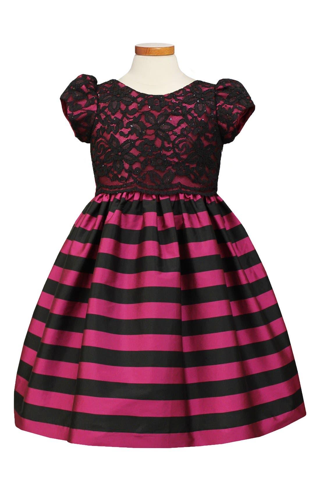 Girls Sorbet Lace Overlay Taffeta Dress Size 6X  Pink
