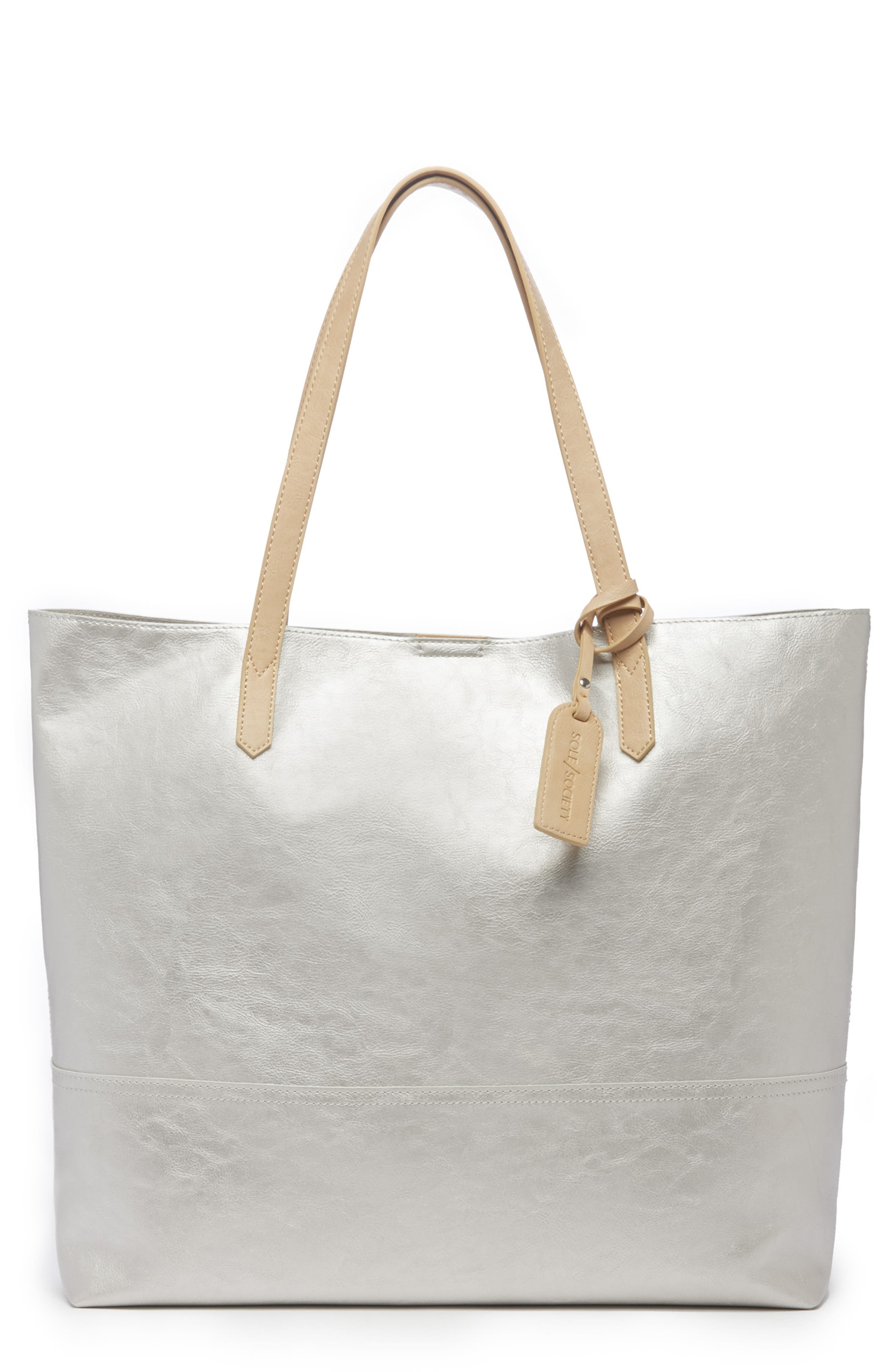 Inell Metallic Faux Leather Tote,                         Main,                         color, SILVER