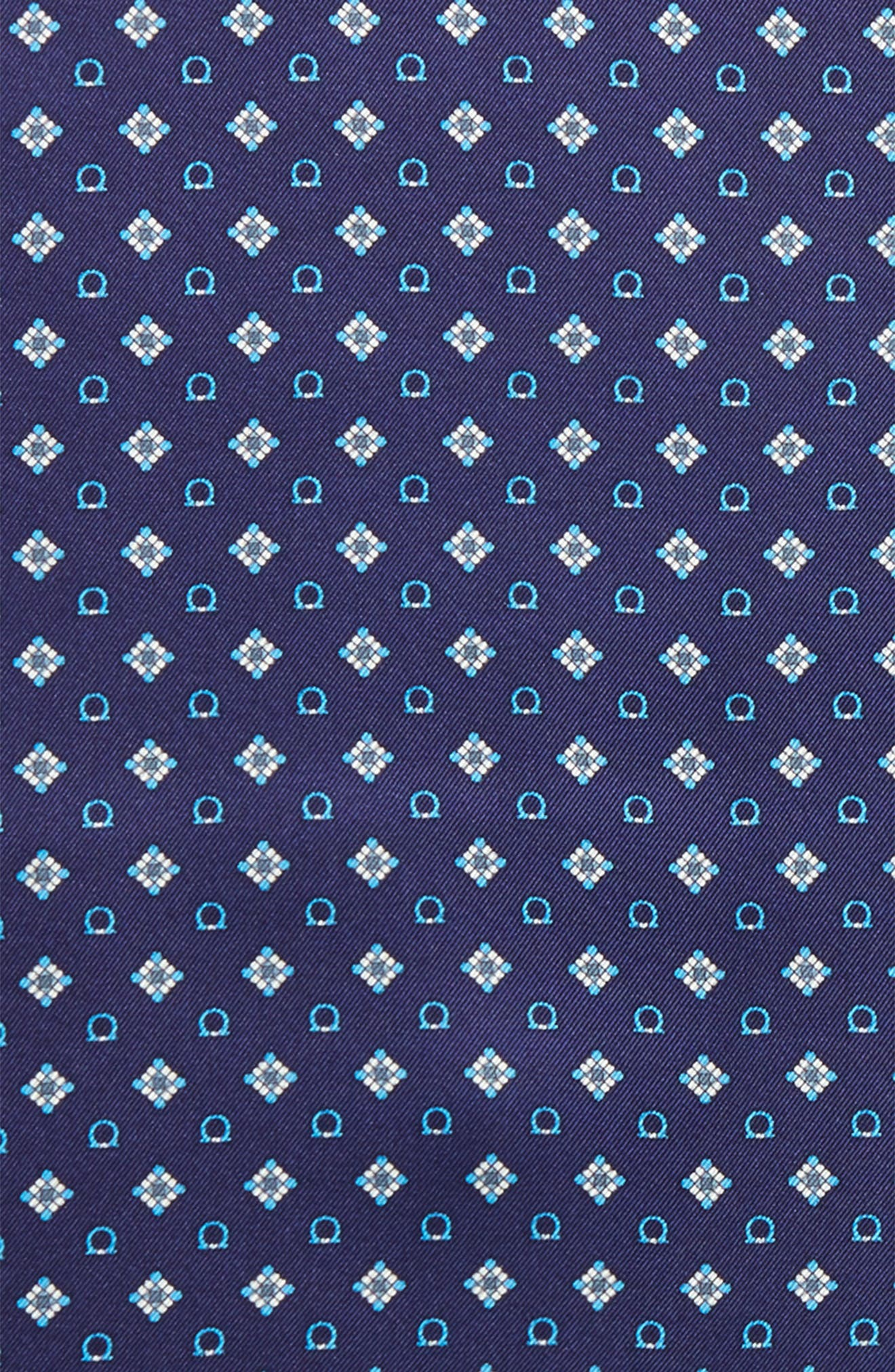 Edison Medallion Silk Pocket Square,                             Alternate thumbnail 3, color,                             MARINE