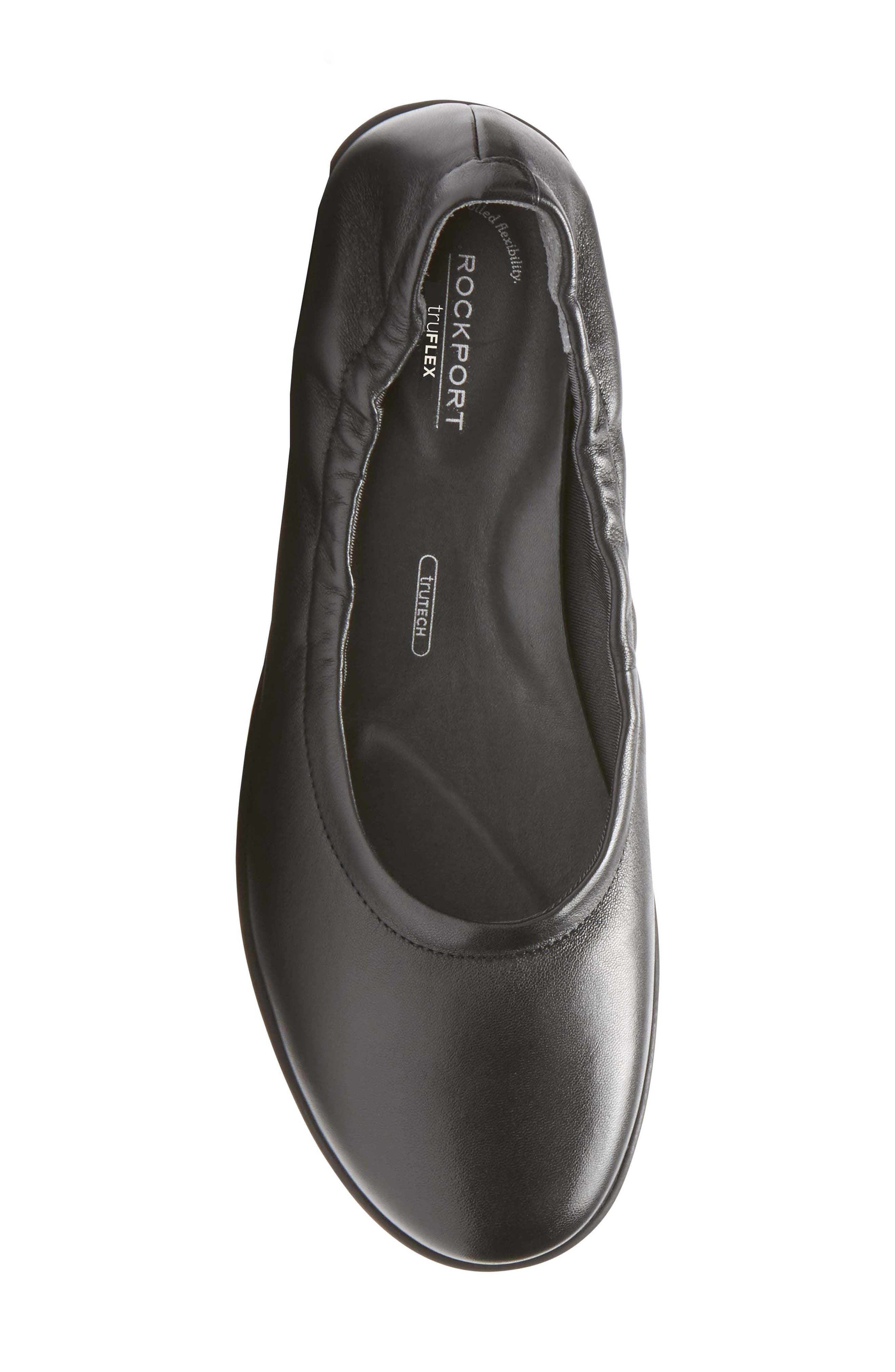 Chenole Ballet Flat,                             Alternate thumbnail 5, color,                             BLACK LEATHER