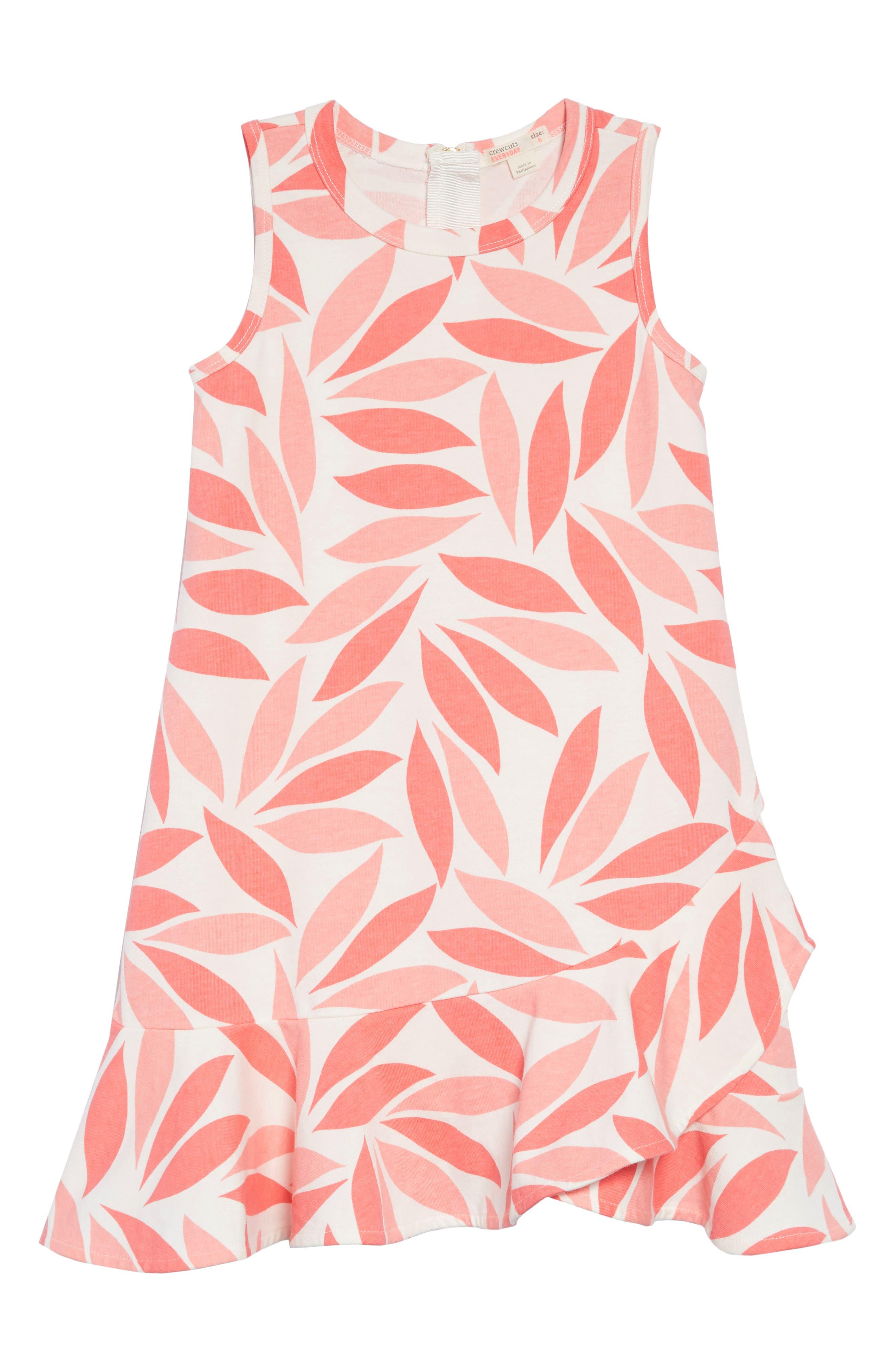 Coral Petal Ruffle Hem Dress,                             Main thumbnail 1, color,                             AZALEA MULTI