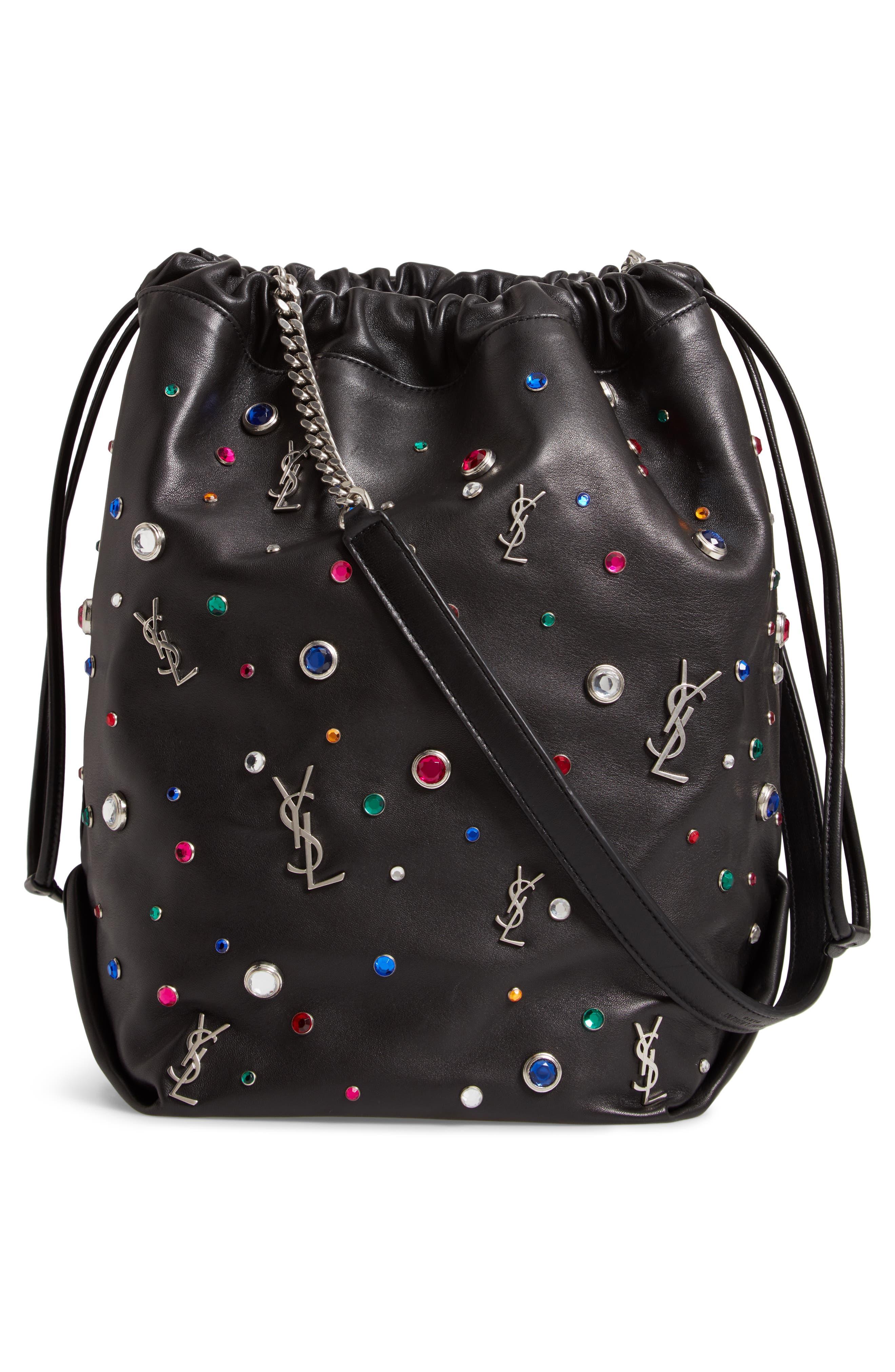 Teddy Studded Leather Bucket Bag,                             Alternate thumbnail 3, color,                             NOIR MULTI