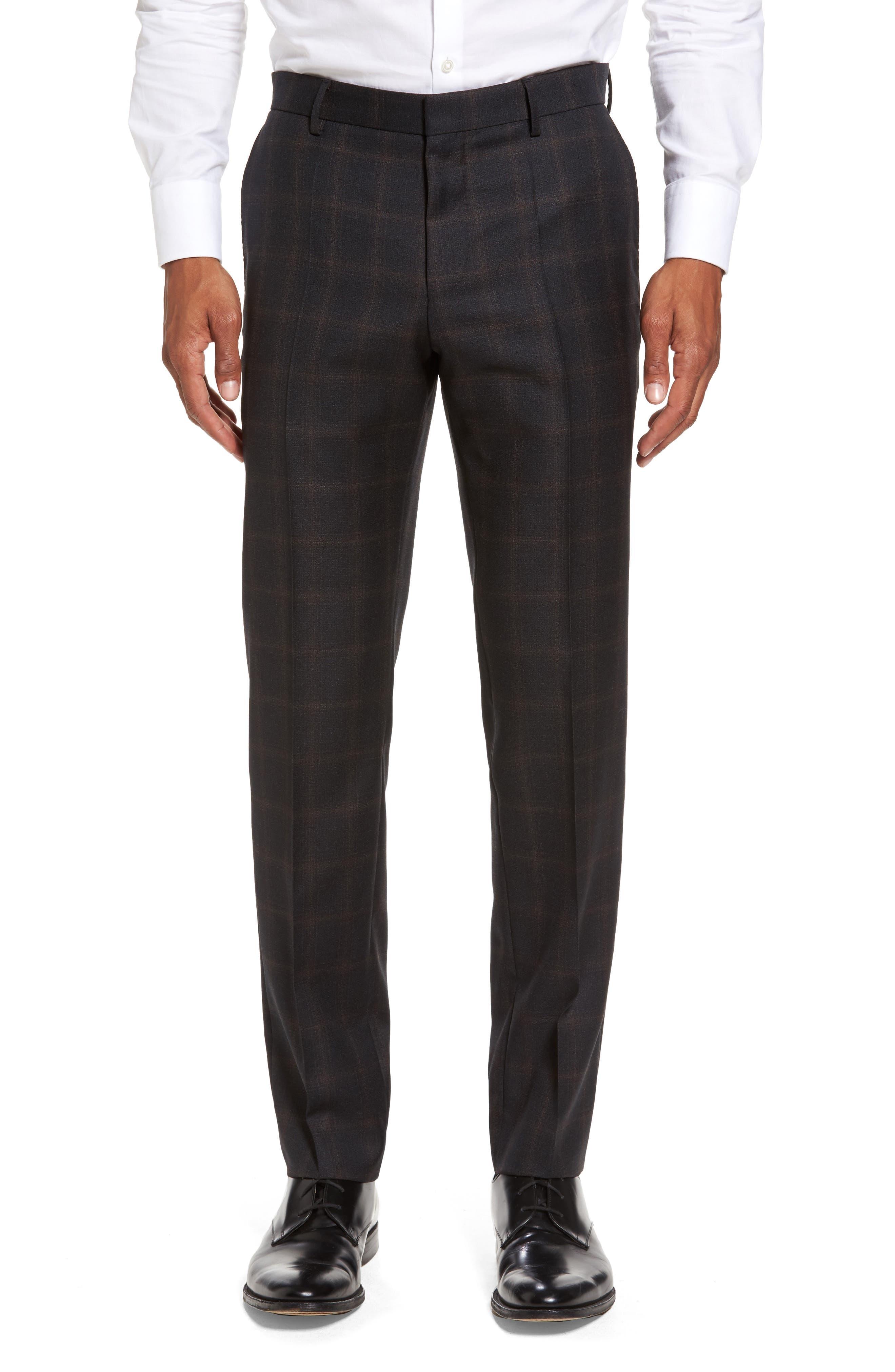 Novan/Ben Trim Fit Plaid Wool Suit,                             Alternate thumbnail 6, color,                             061