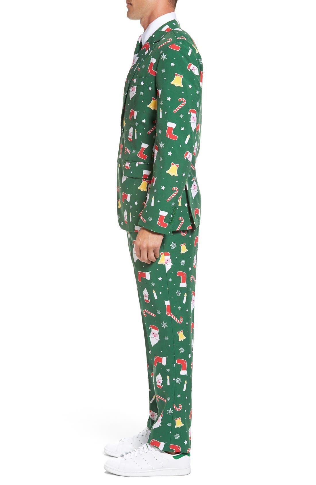 'Santaboss' Trim Fit Two-Piece Suit with Tie,                             Alternate thumbnail 4, color,                             301