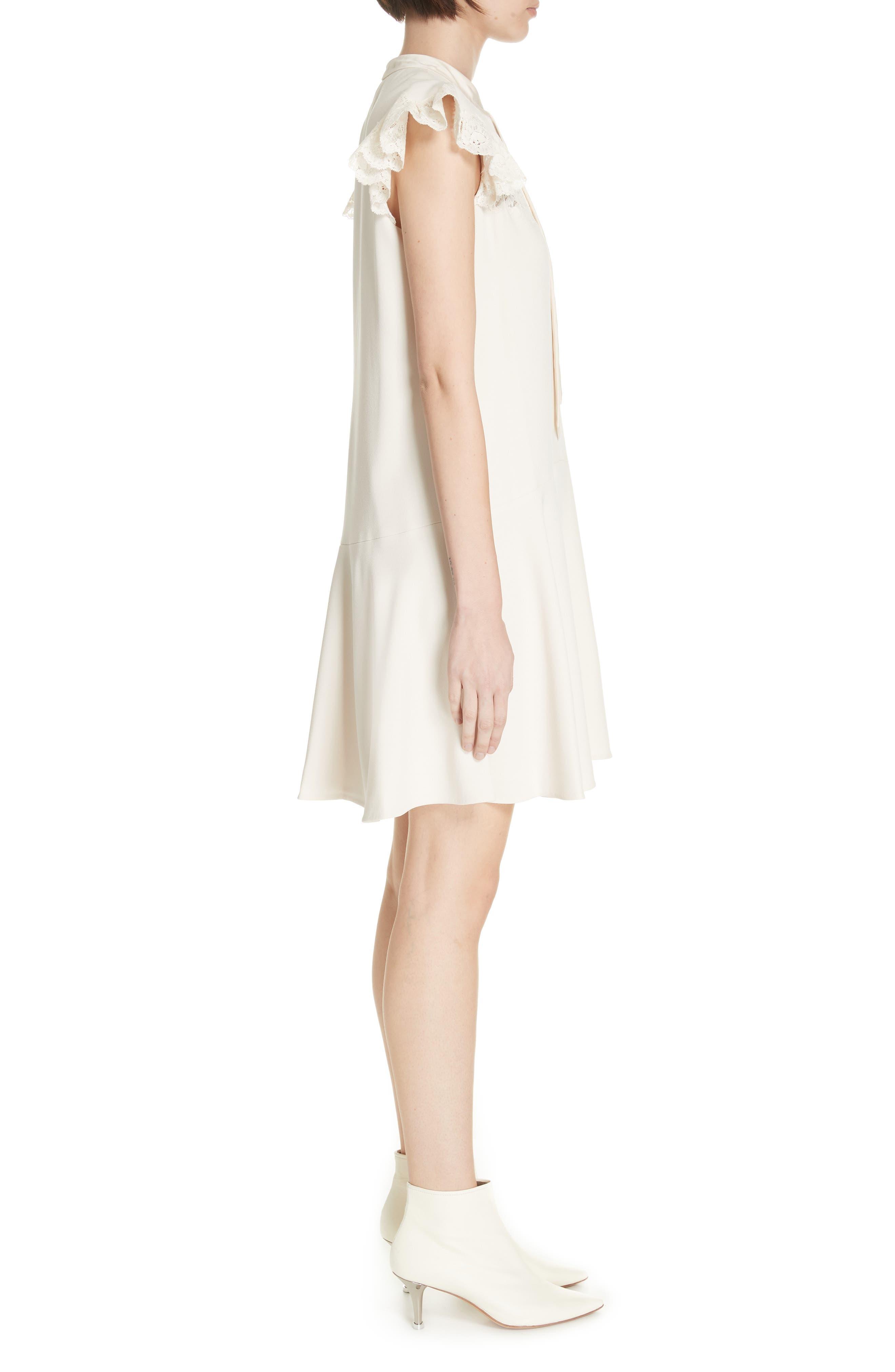 Lace Detail Tie Neck Dress,                             Alternate thumbnail 3, color,                             CREAM