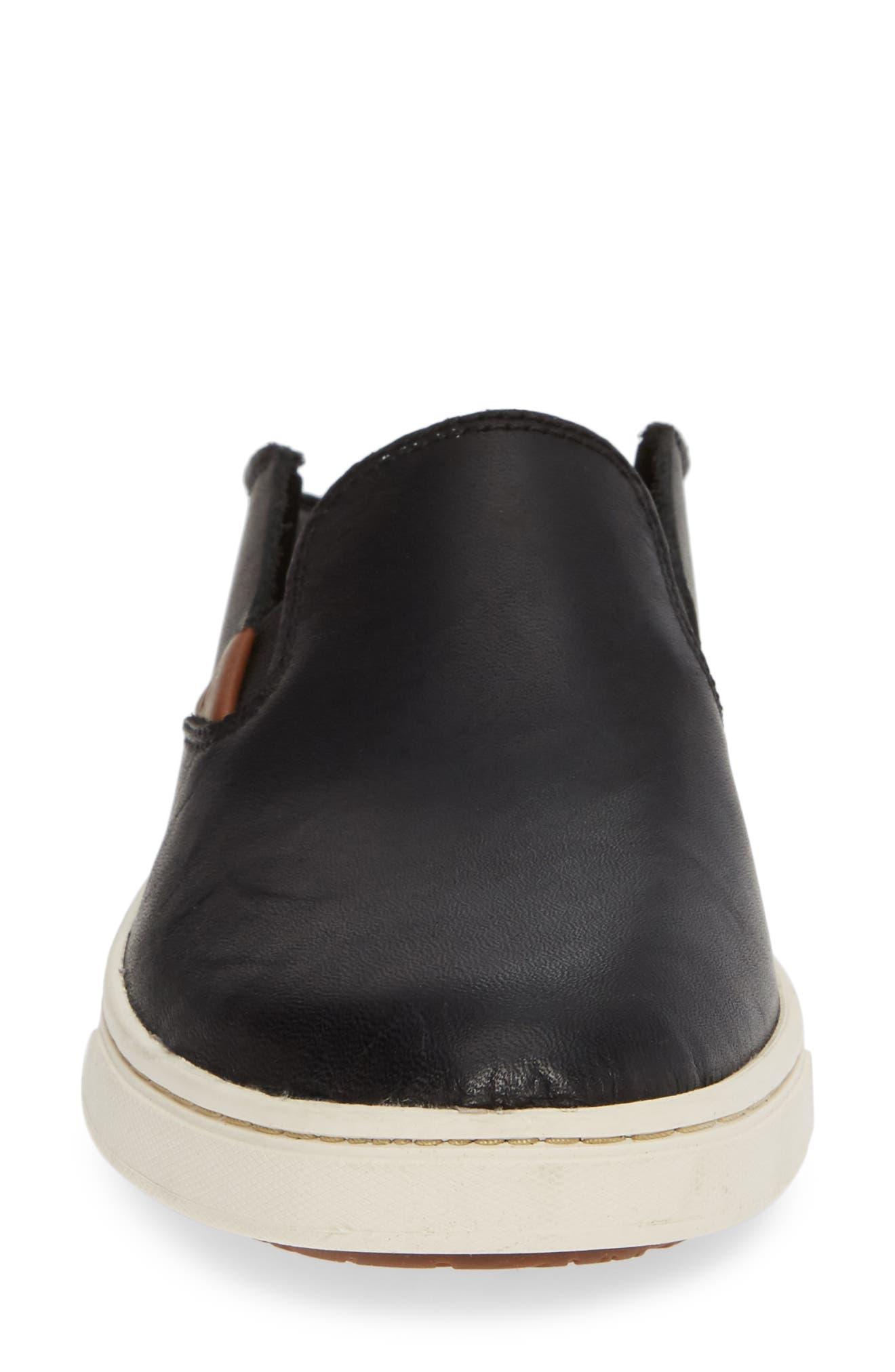 Pehuea Slip-On Sneaker,                             Alternate thumbnail 5, color,                             BLACK/ BLACK LEATHER