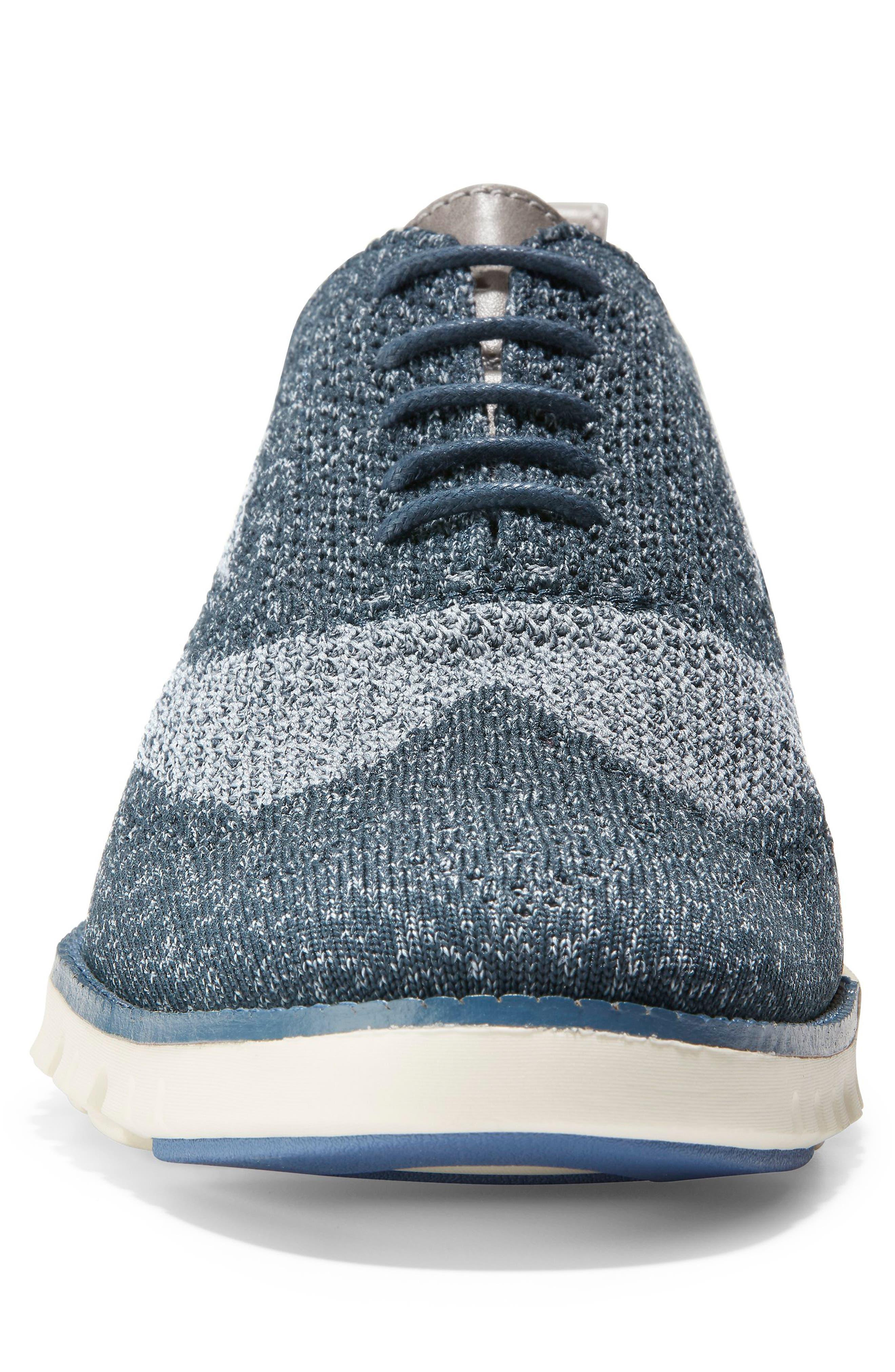 ZeroGrand Stitchlite Woven Wool Wingtip,                             Alternate thumbnail 4, color,                             BLUEBERRY KNIT
