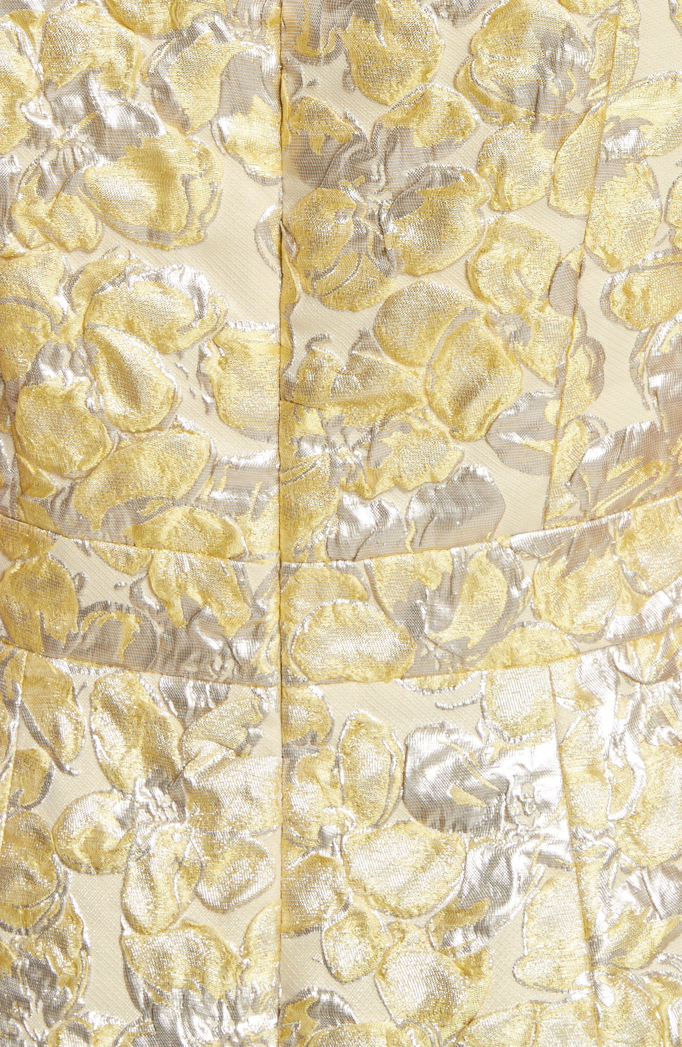 Metallic Floral Jacquard Dress,                             Alternate thumbnail 5, color,                             730