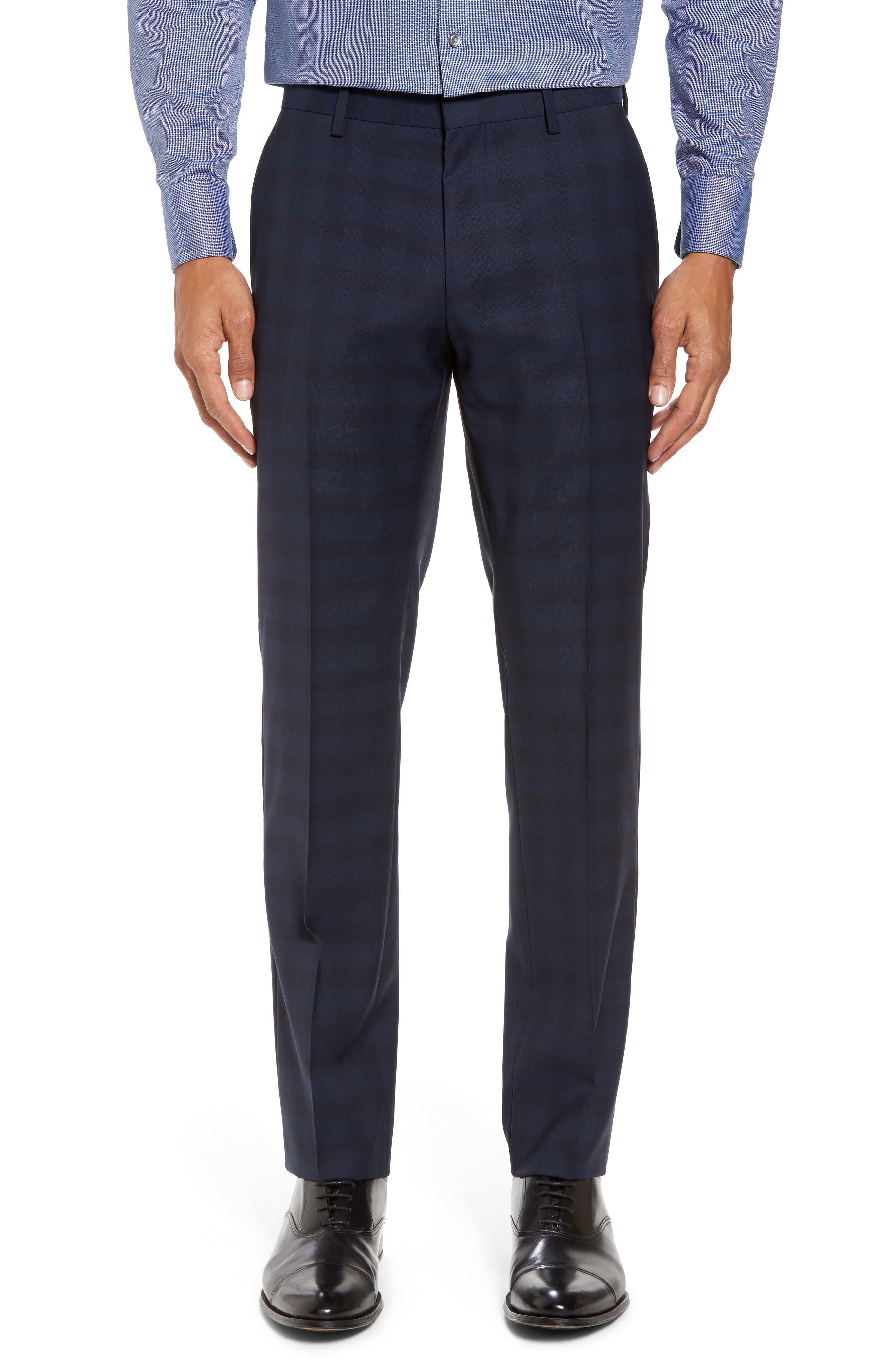 Huge/Genius Trim Fit Plaid Wool Suit,                             Alternate thumbnail 6, color,
