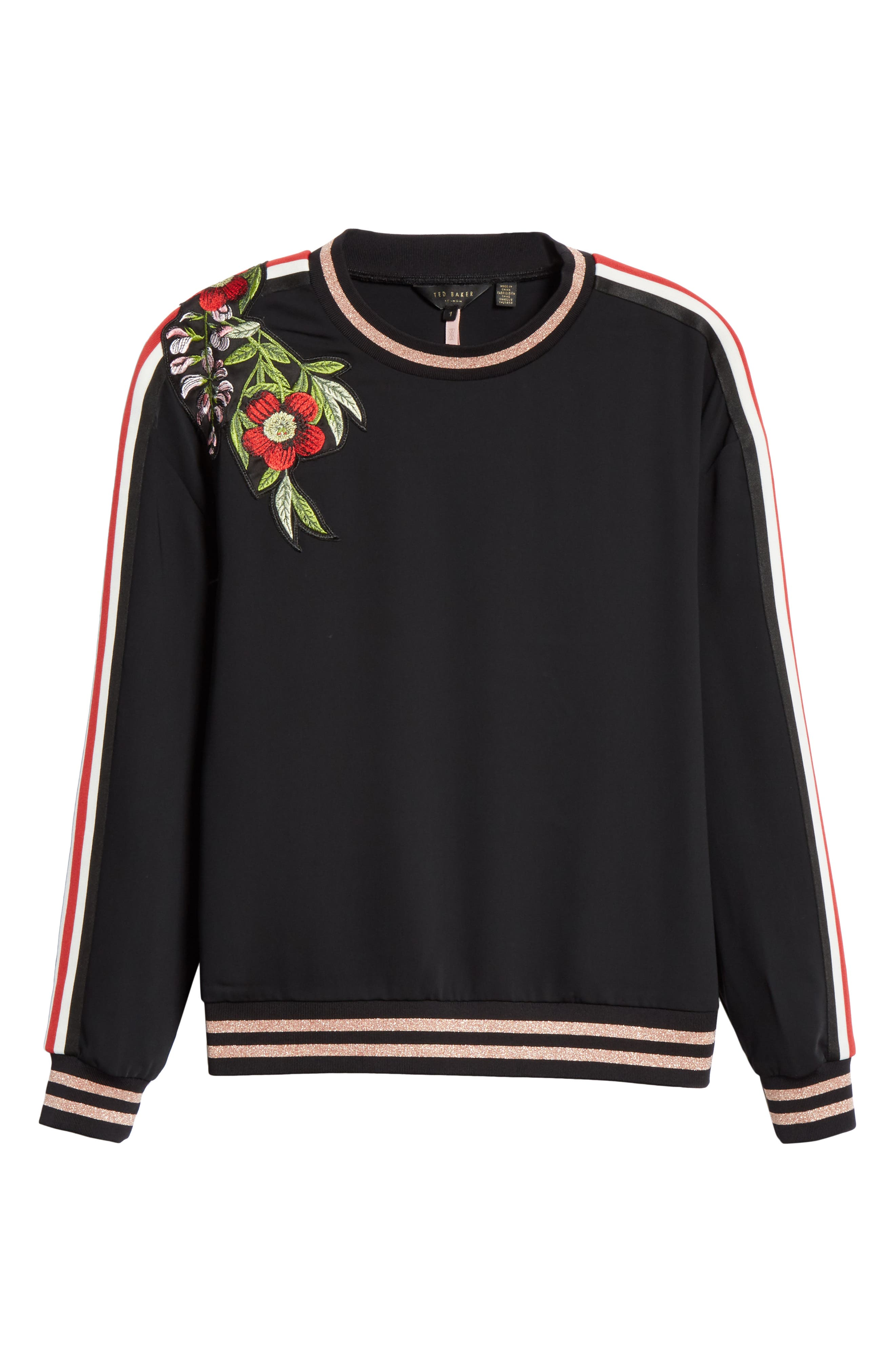 Maddeyy Embroidered Trim Top,                             Alternate thumbnail 6, color,                             001