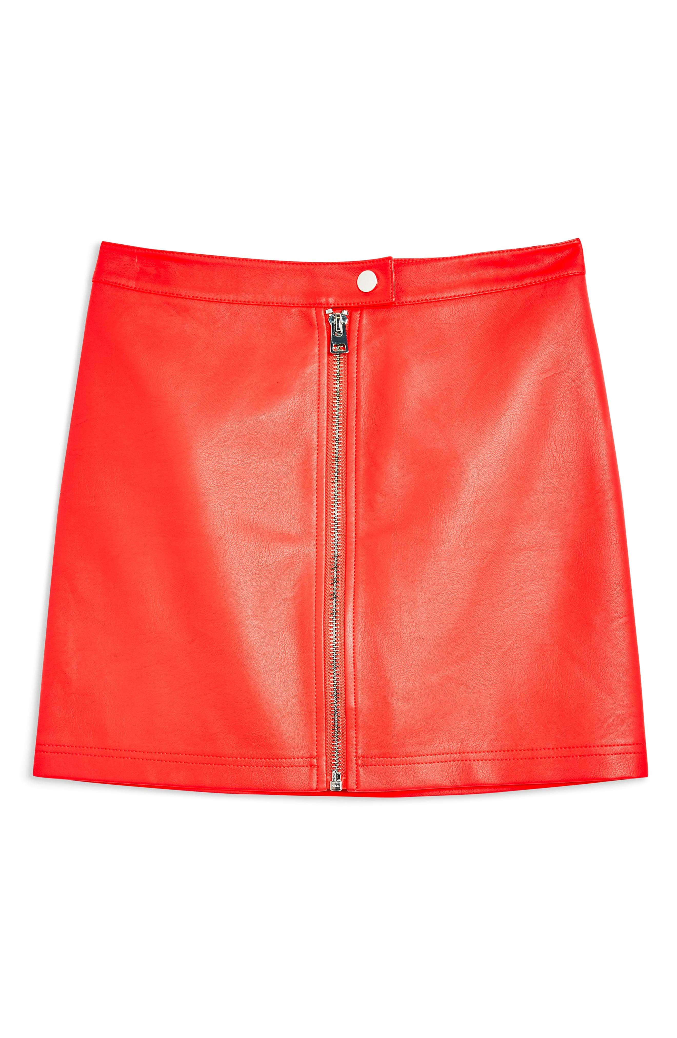 Penelope Faux Leather Miniskirt,                             Alternate thumbnail 3, color,                             RED