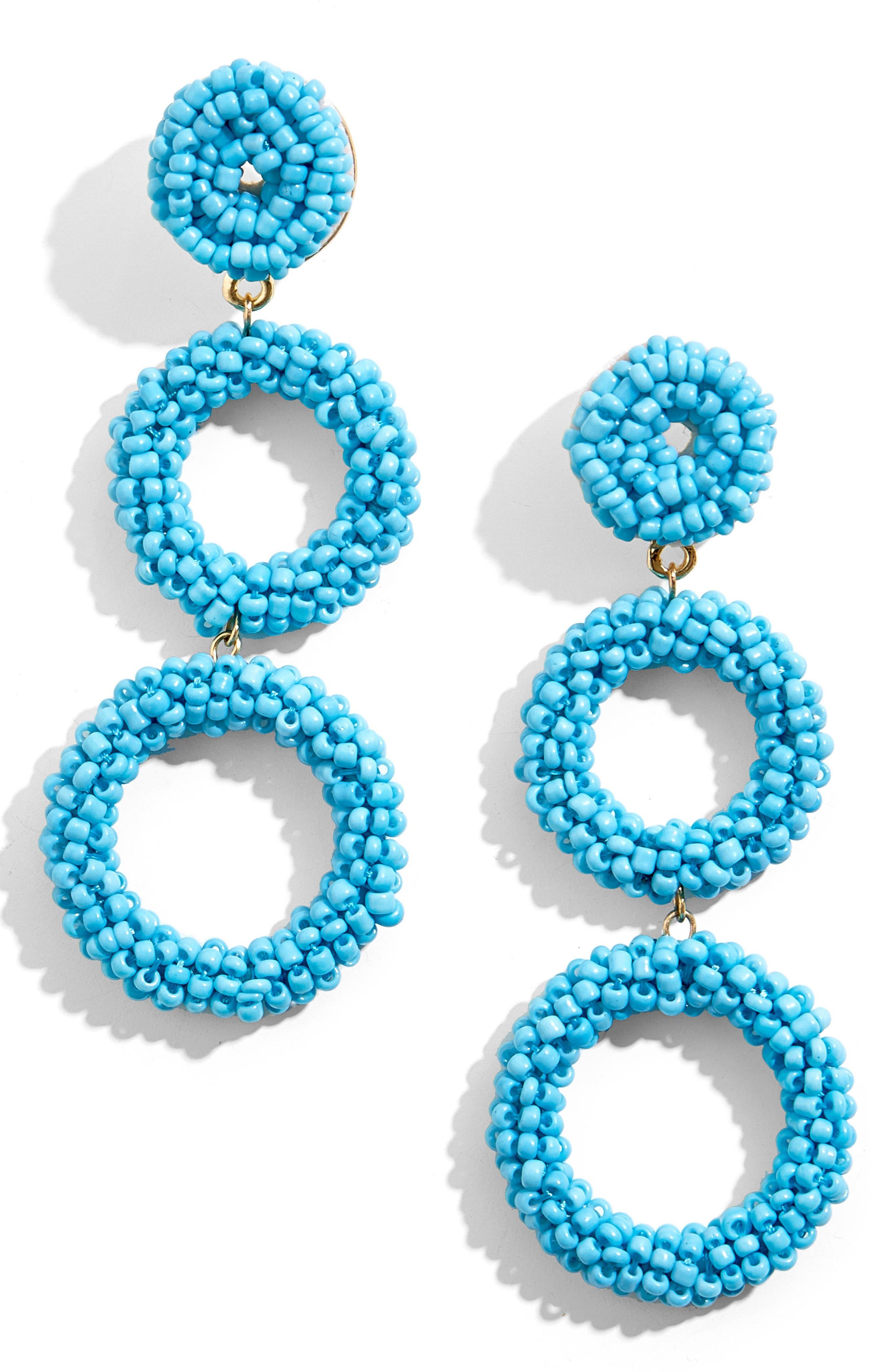 Capella Beaded Triple Hoop Drop Earrings,                         Main,                         color, TURQUOISE