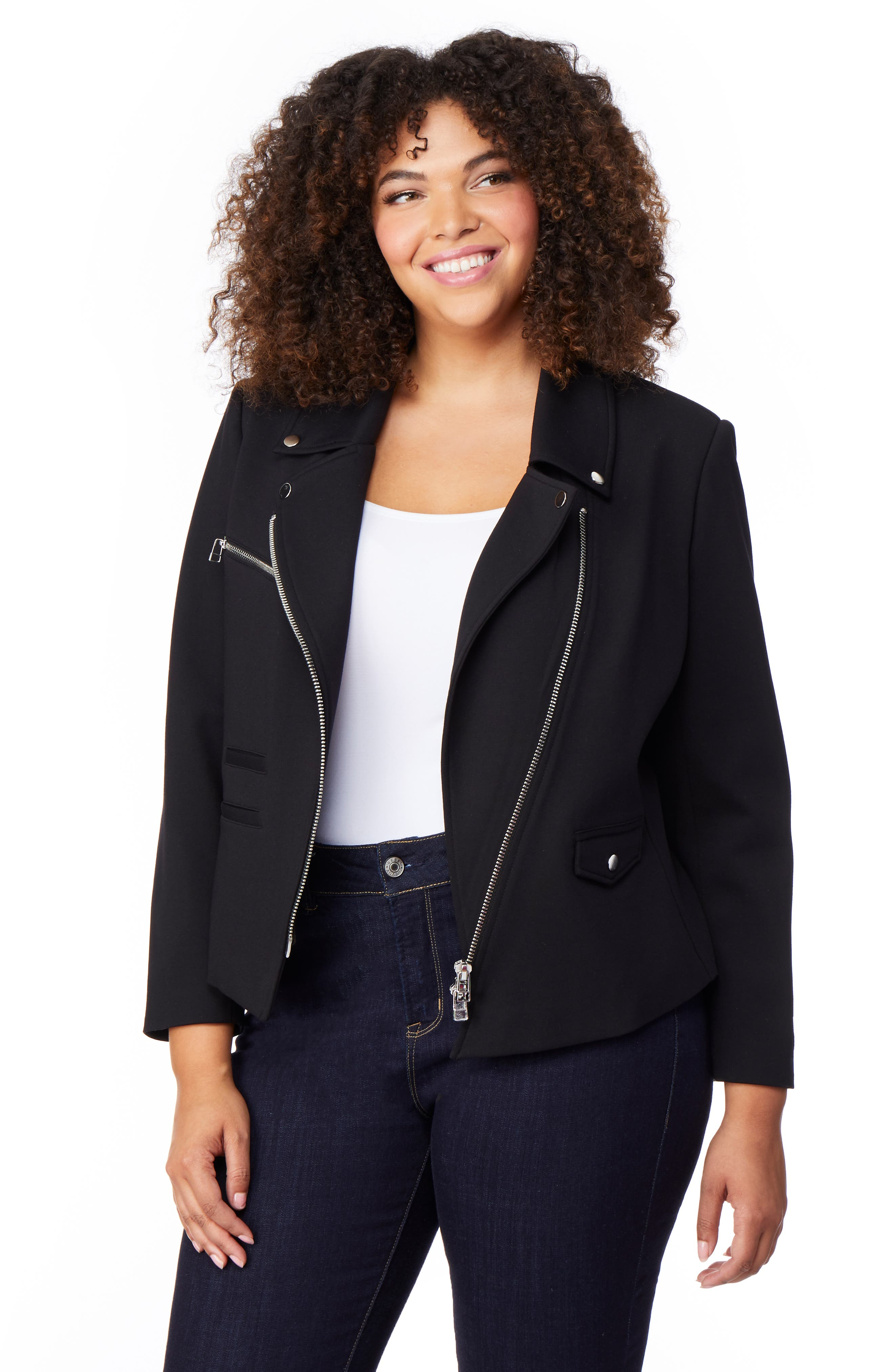Asymmetrical Zip Moto Jacket,                             Alternate thumbnail 3, color,                             BLACK
