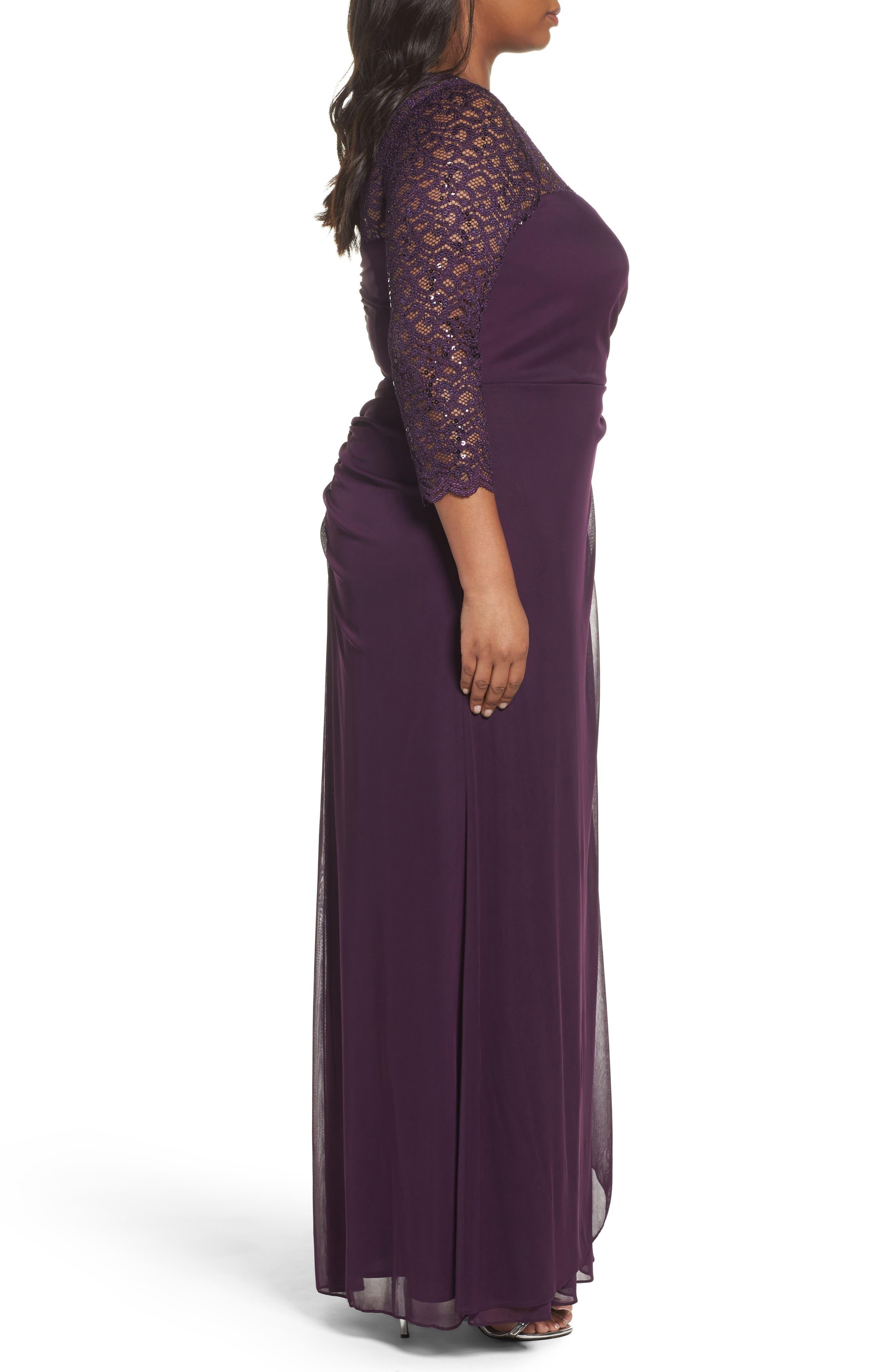 Lace & Matte Jersey Gown,                             Alternate thumbnail 3, color,                             501