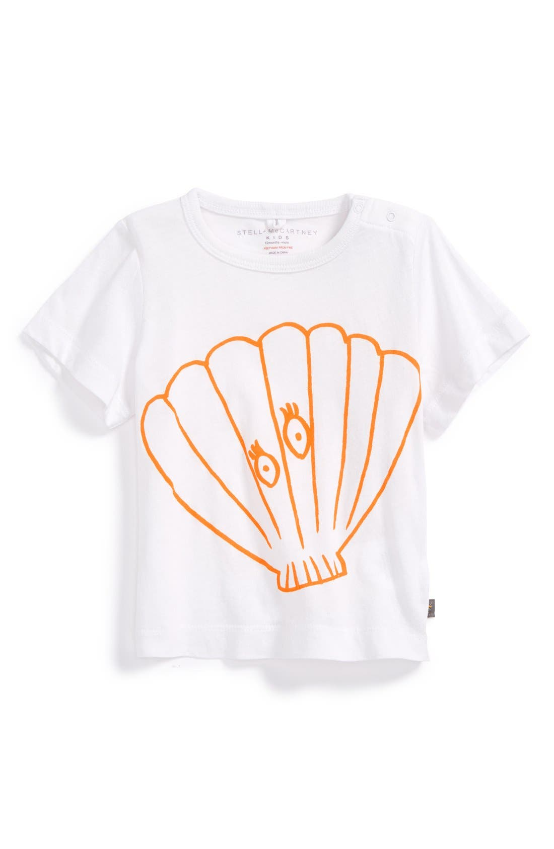 STELLA MCCARTNEY KIDS Seashell Graphic Organic Cotton Tee, Main, color, 100
