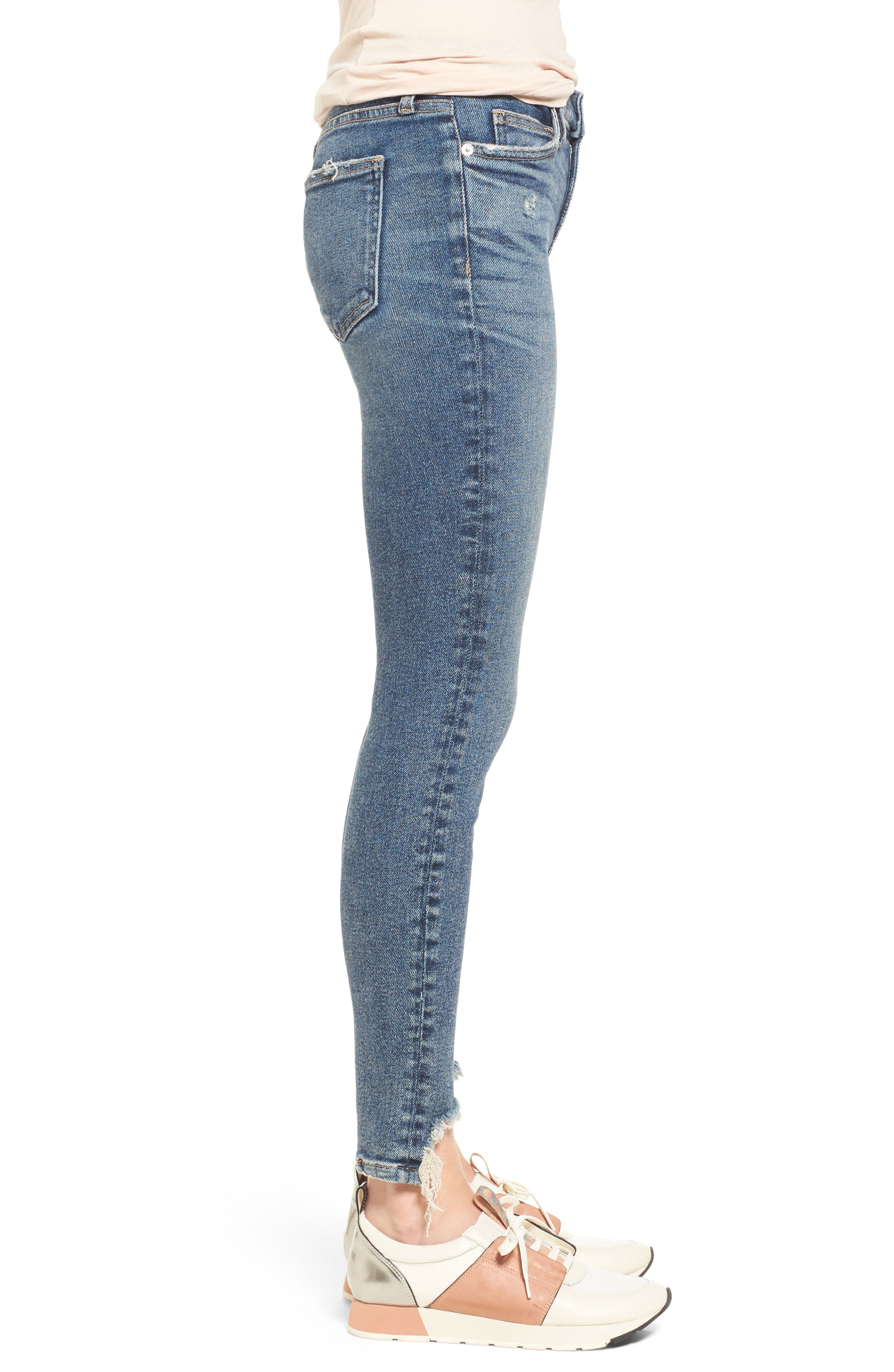 The Stiletto High Waist Ankle Skinny Jeans,                             Alternate thumbnail 3, color,                             458